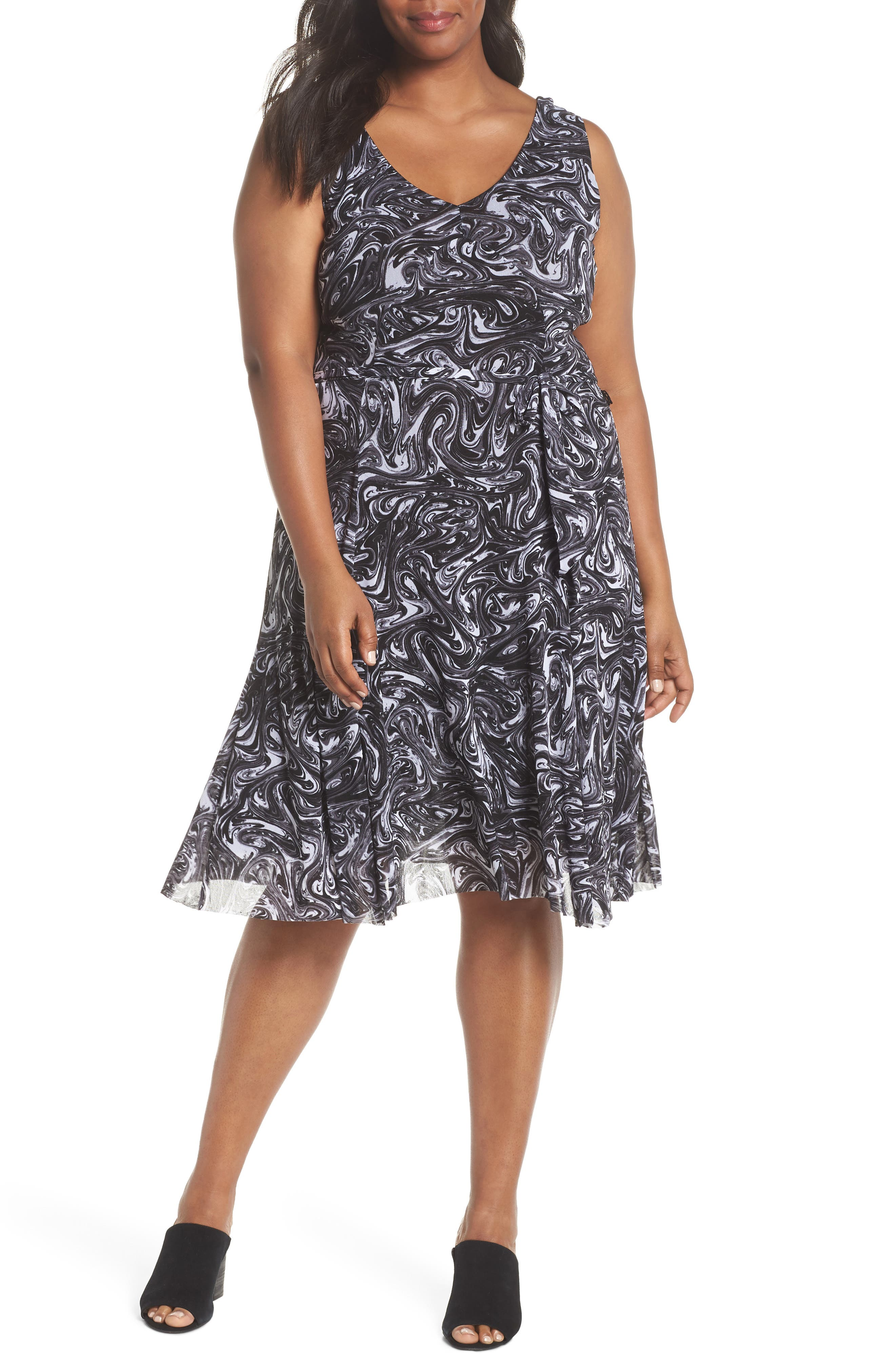 Plus Size Michael Michael Kors Watermark Swirl Flare Tank Dress, Black