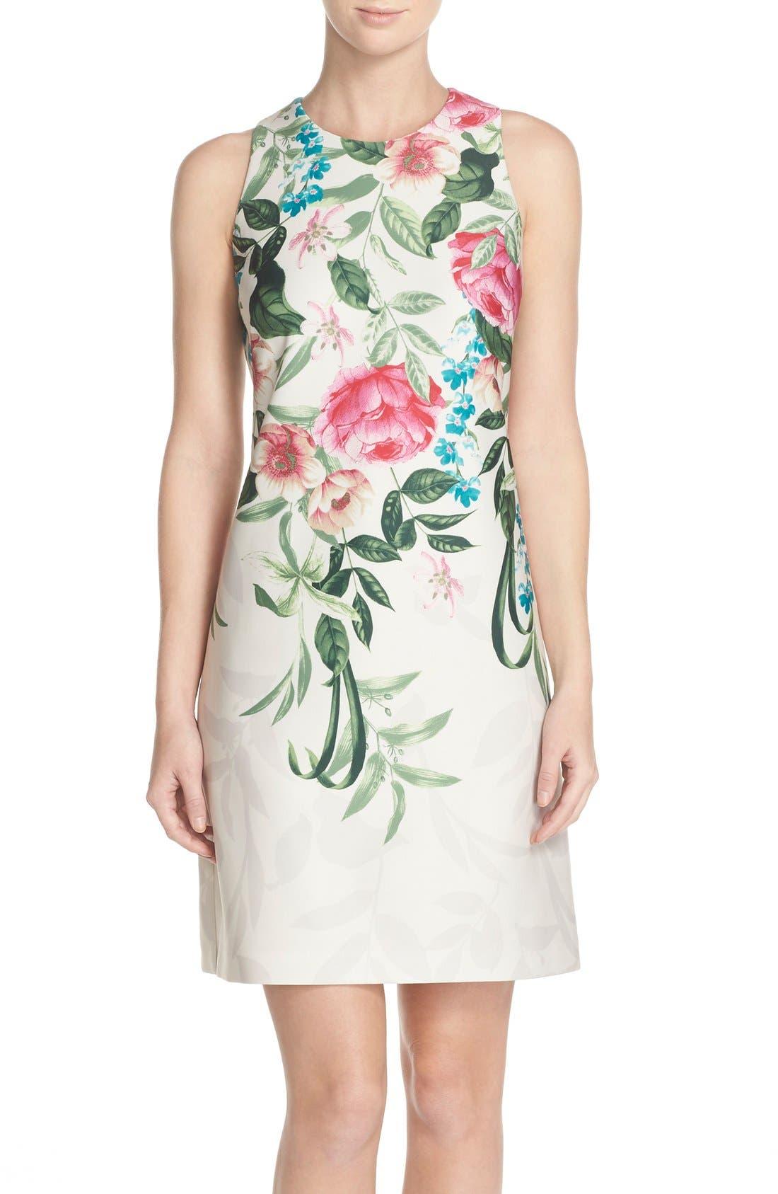 Placed Floral Print Stretch A-Line Dress,                             Main thumbnail 1, color,