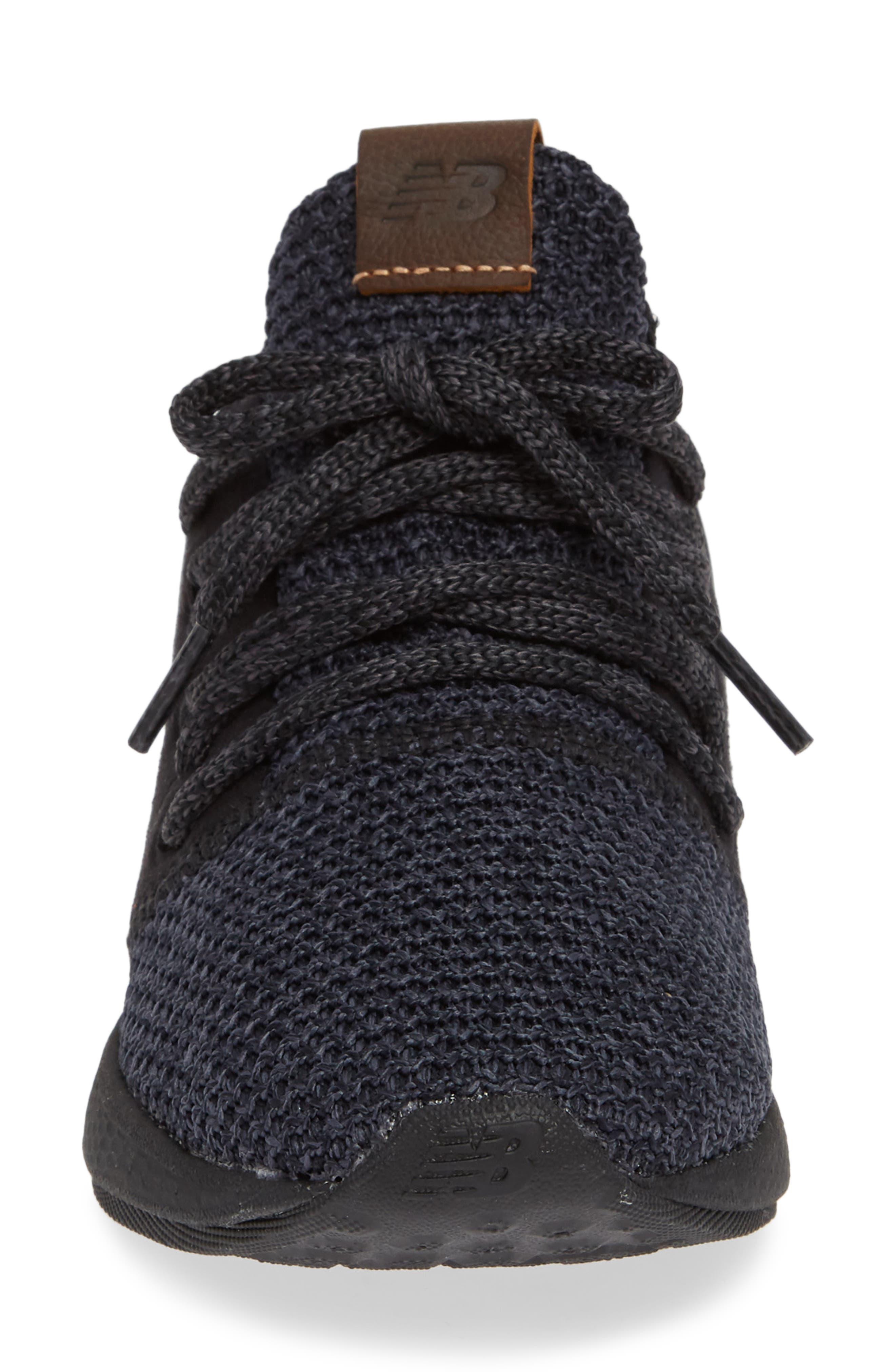 Fresh Foam Cruz Knit Running Shoe,                             Alternate thumbnail 4, color,                             BLACK/ BLACK