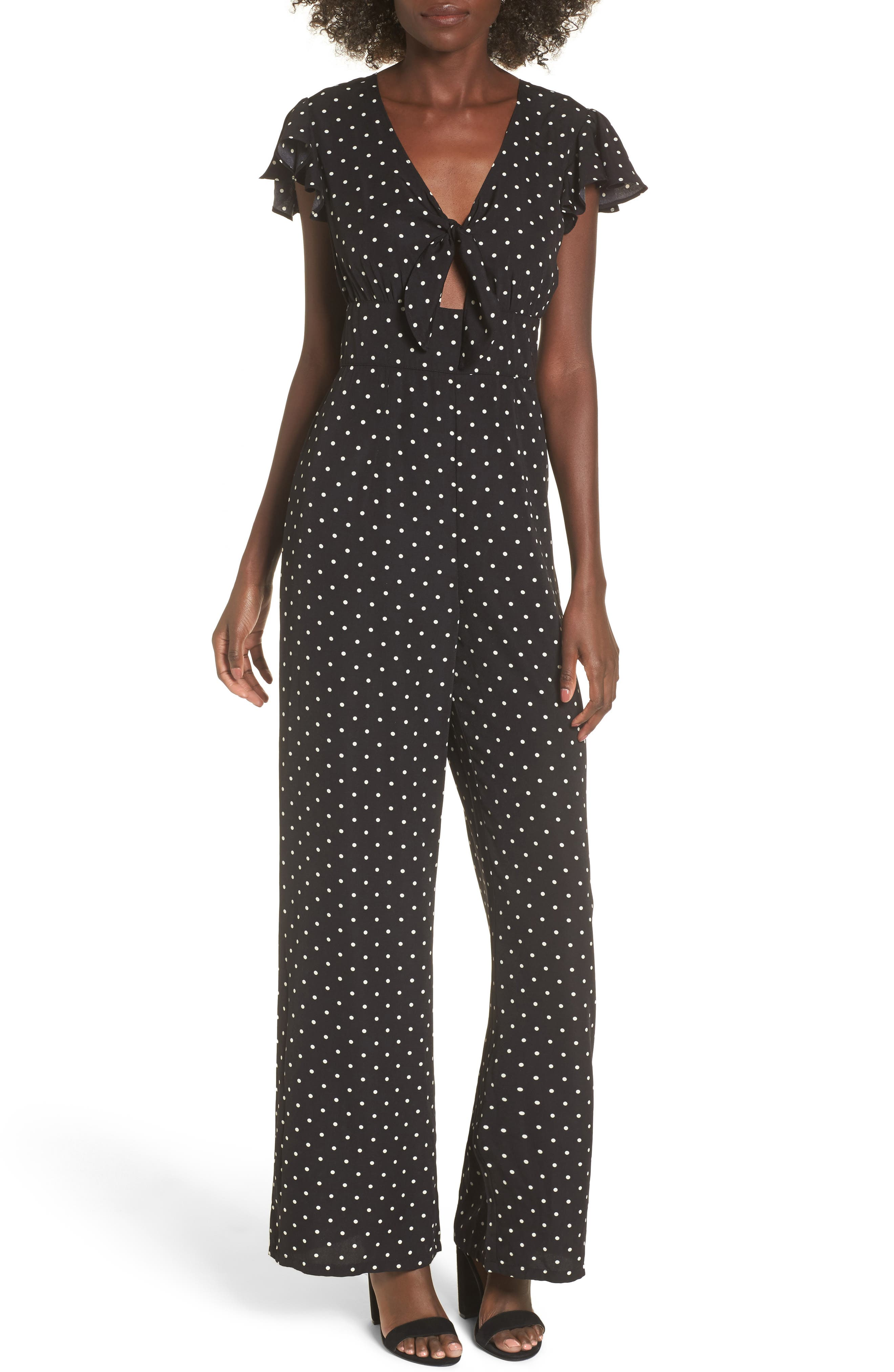 Tie Front Wide Leg Jumpsuit,                             Main thumbnail 1, color,
