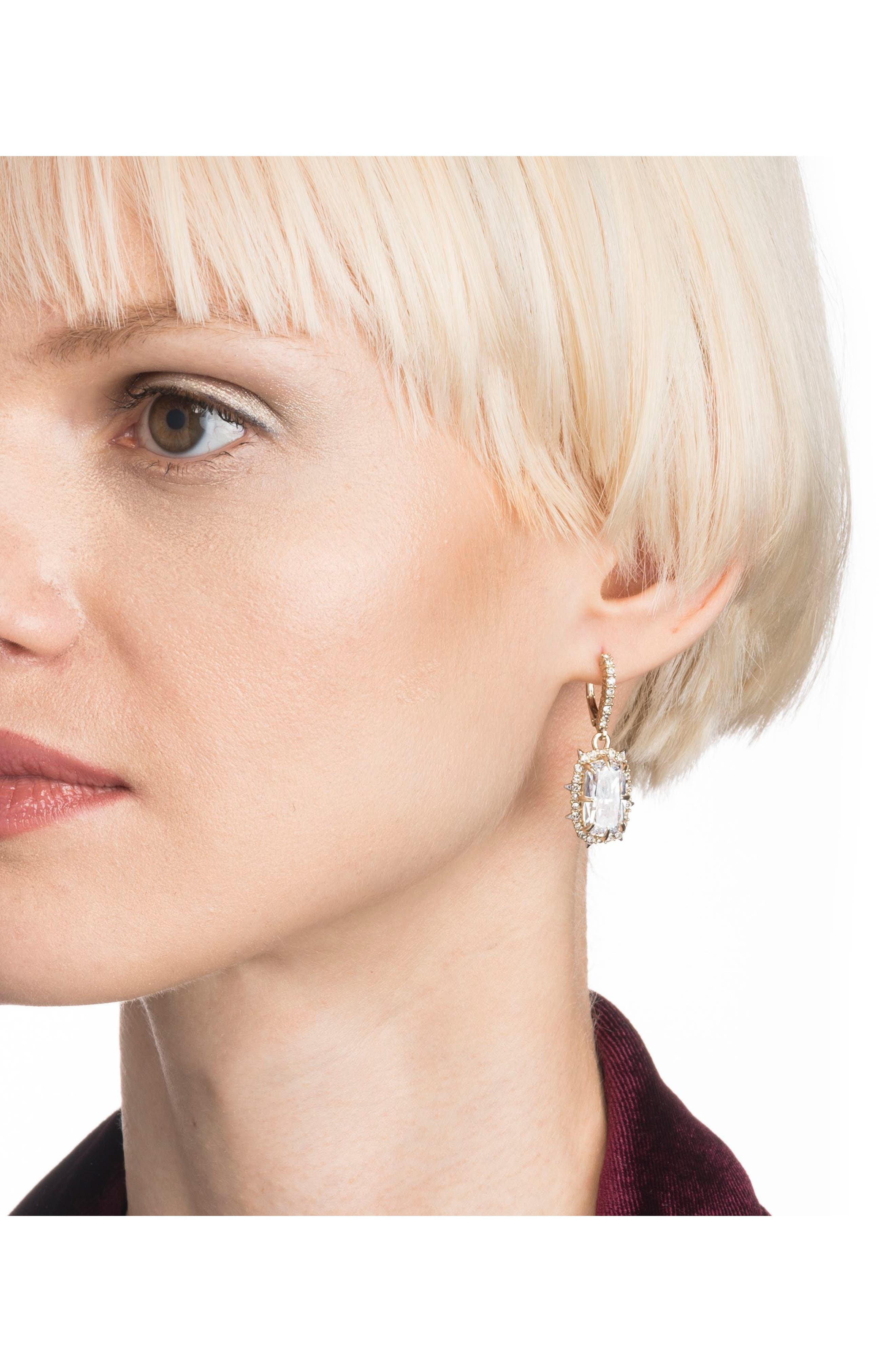 Crystal Drop Earrings,                             Alternate thumbnail 3, color,                             GOLD