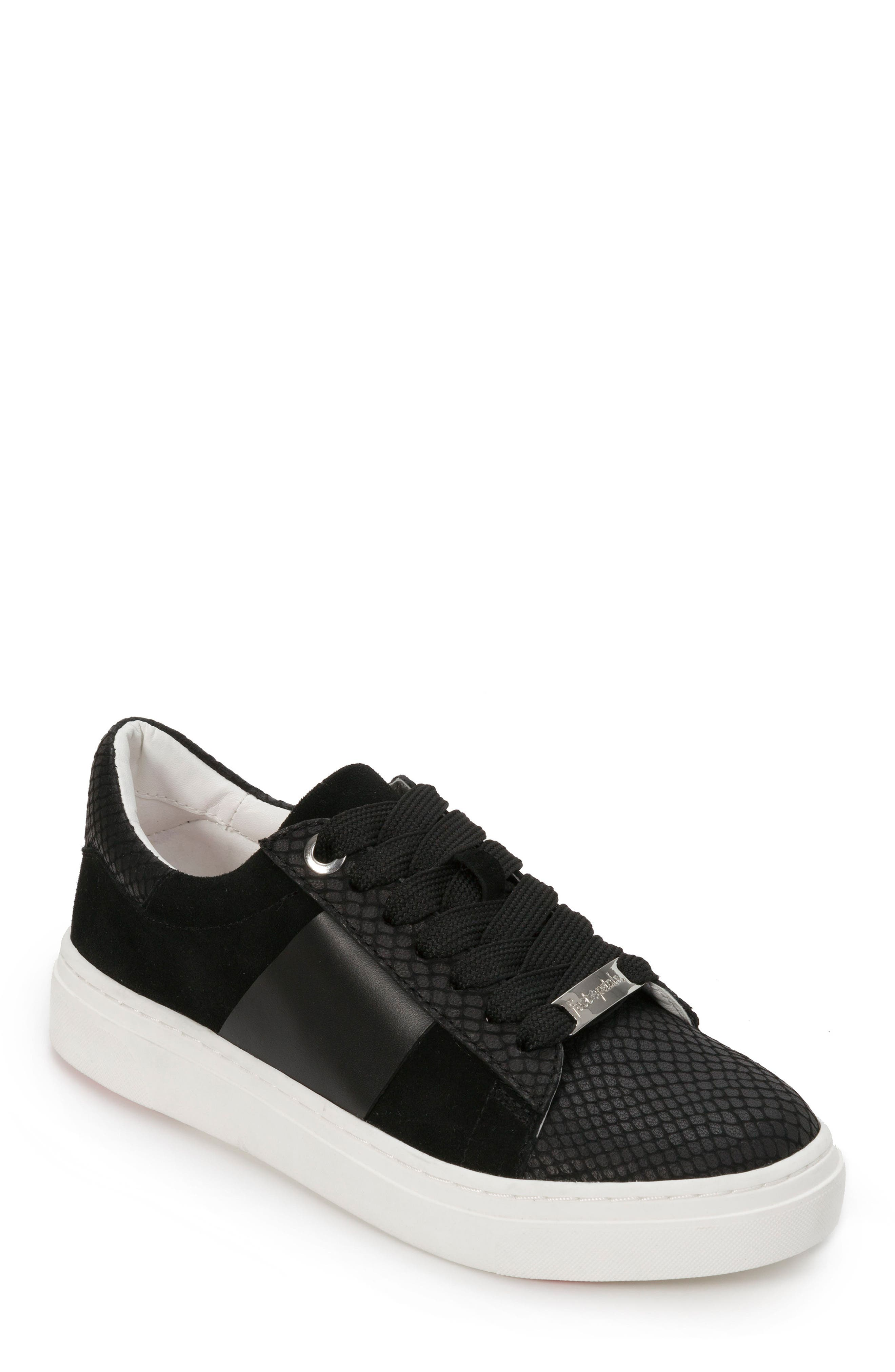 Fallon Sneaker,                         Main,                         color, BLACK SUEDE