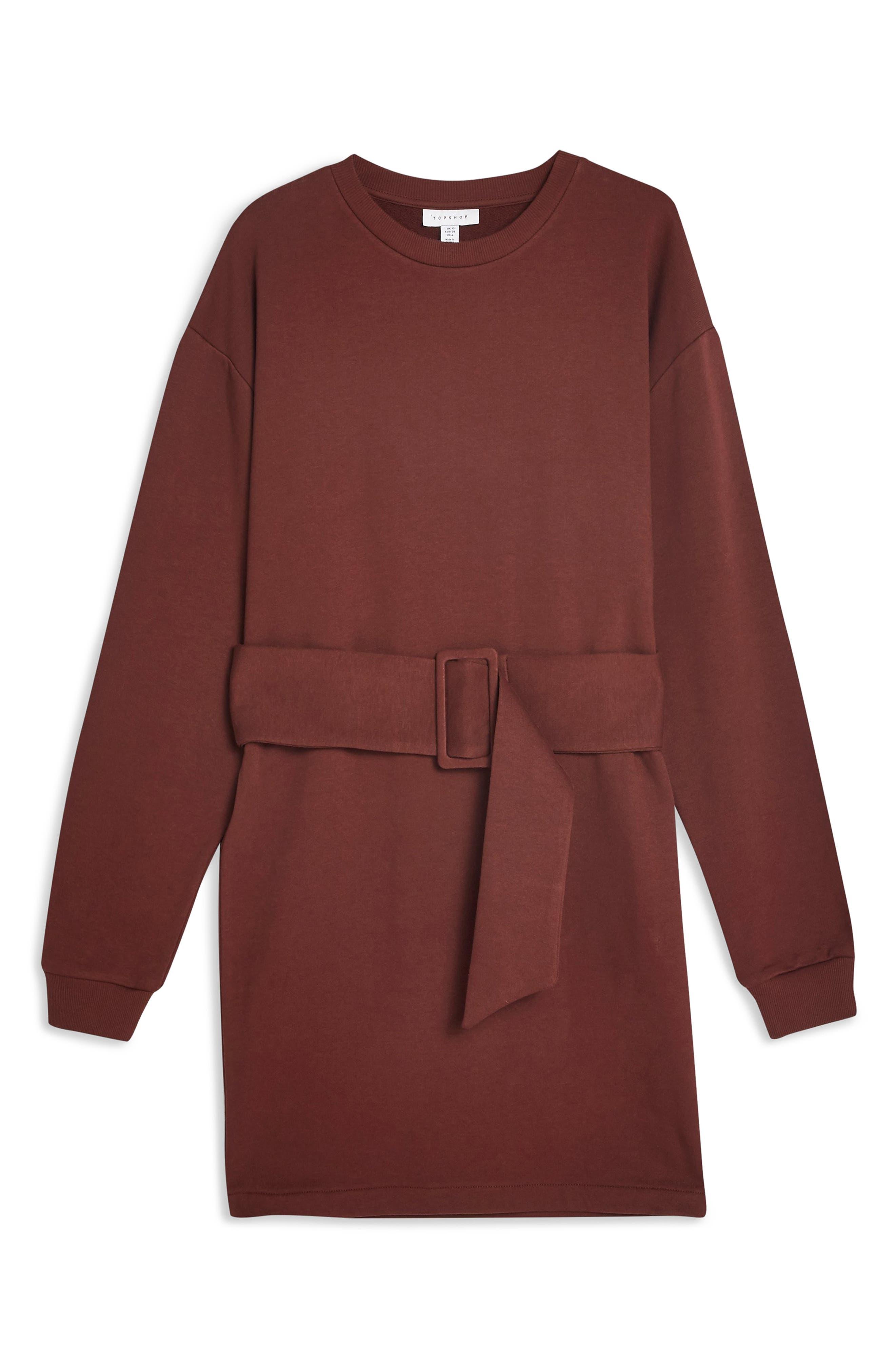 Belted Sweater Dress,                             Alternate thumbnail 3, color,                             DARK BROWN