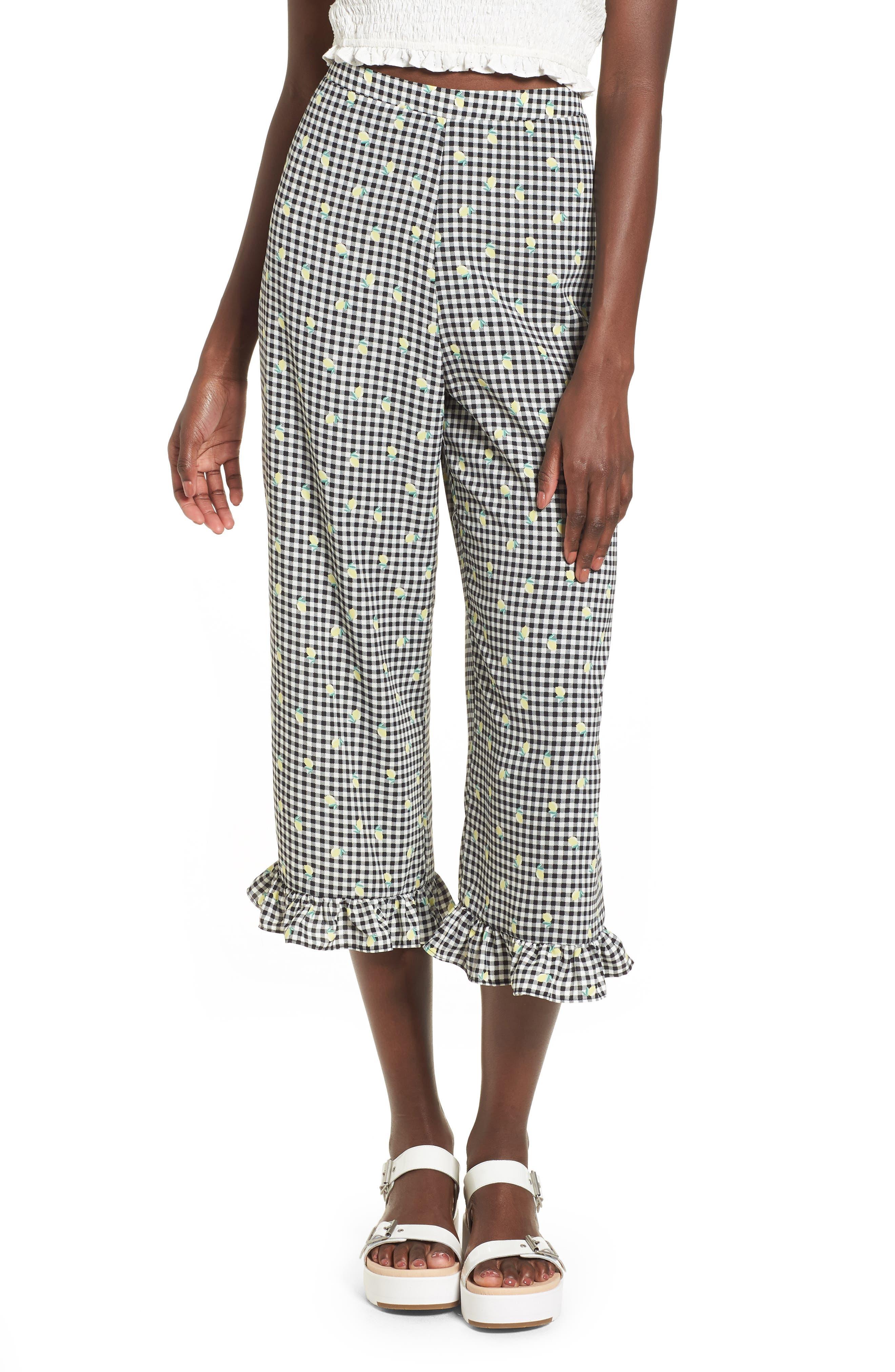 Gingham Ruffle Hem Crop Pants,                             Main thumbnail 1, color,                             001