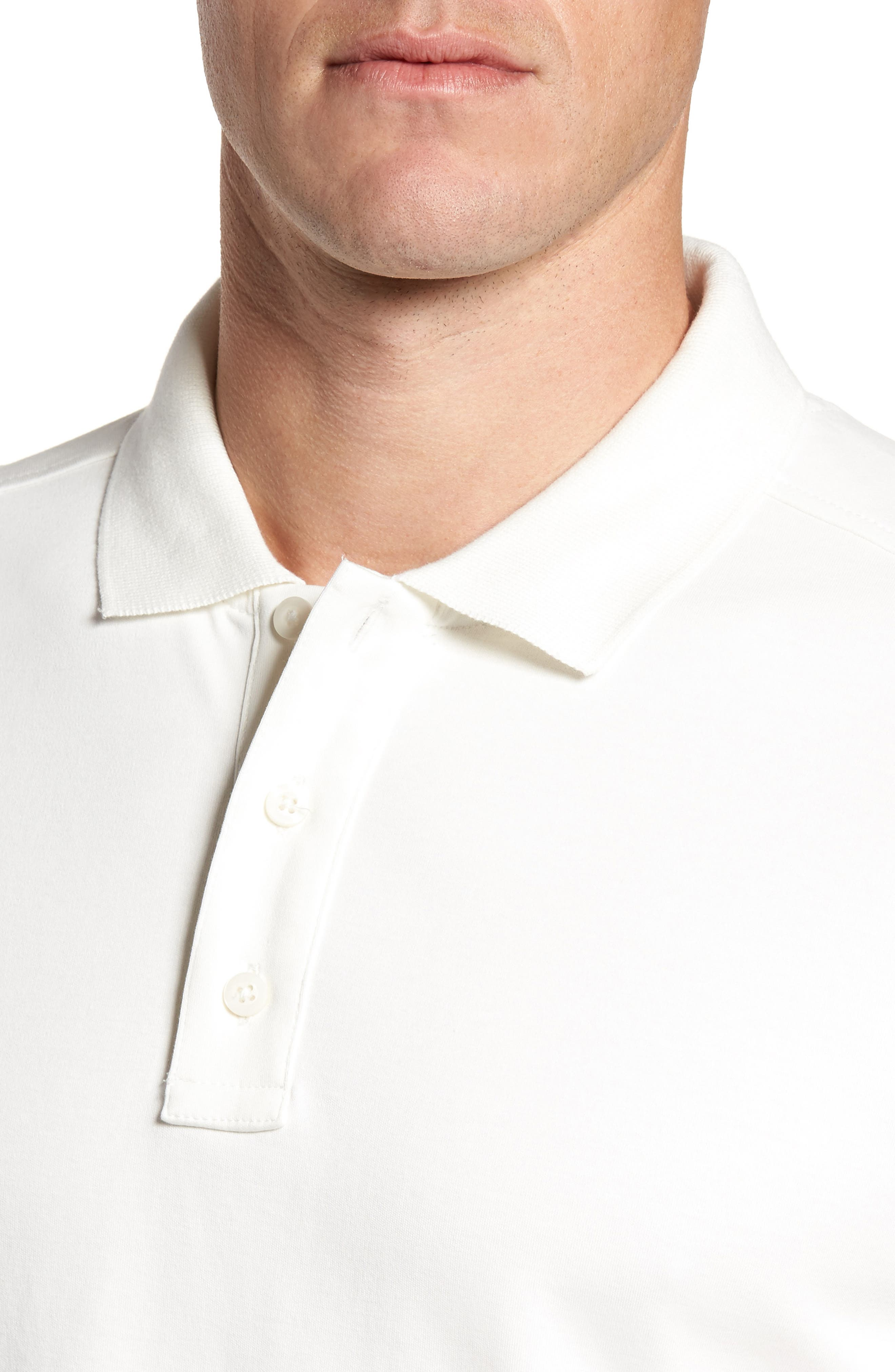 Slim Fit Interlock Knit Polo,                             Alternate thumbnail 4, color,                             WHITE SNOW