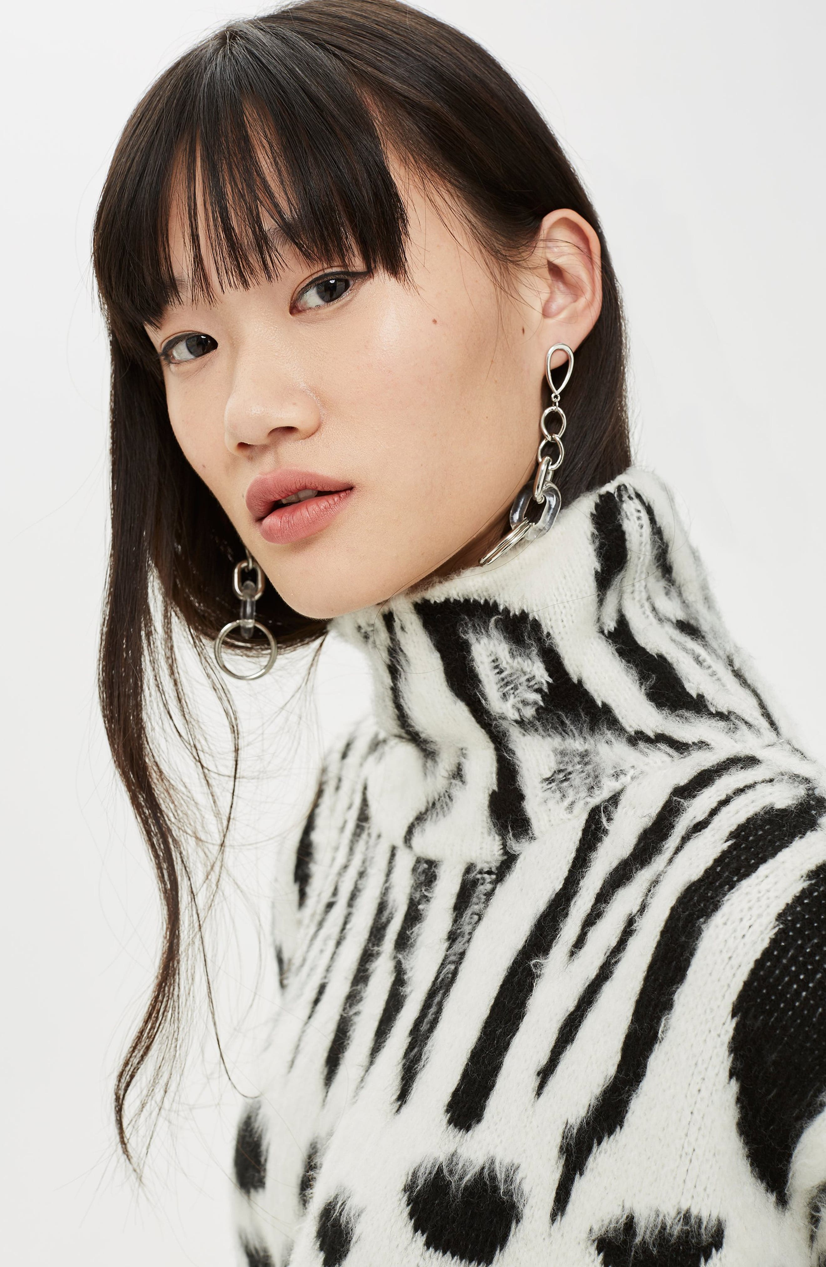 Zebra Mix Turtleneck Sweater,                             Alternate thumbnail 5, color,                             BLACK MULTI