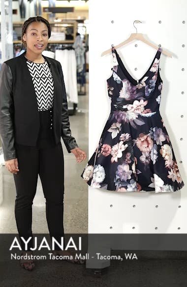 Floral Print Fit & Flare Dress, sales video thumbnail