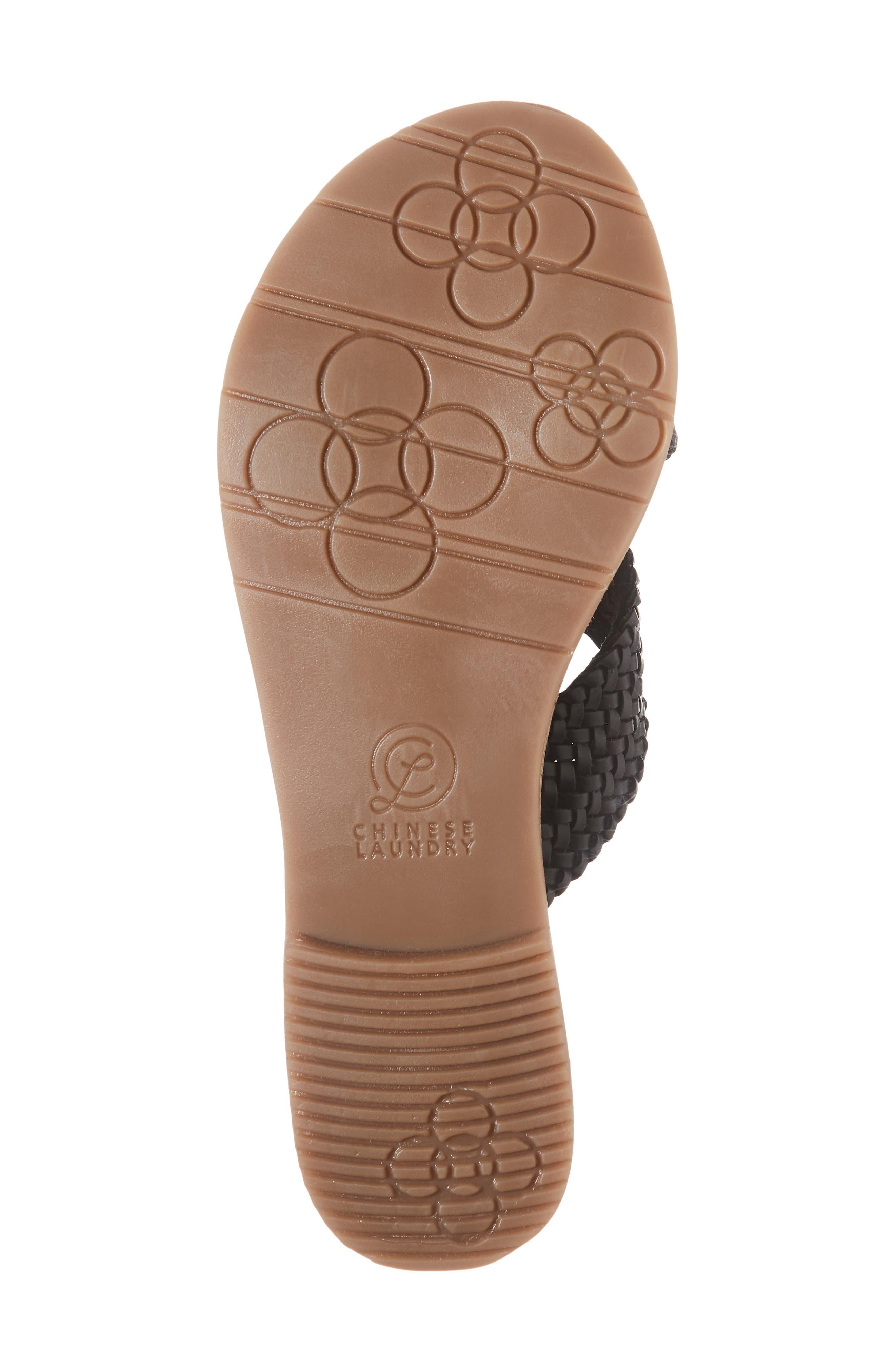 Pure Woven Slide Sandal,                             Alternate thumbnail 6, color,                             BLACK LEATHER