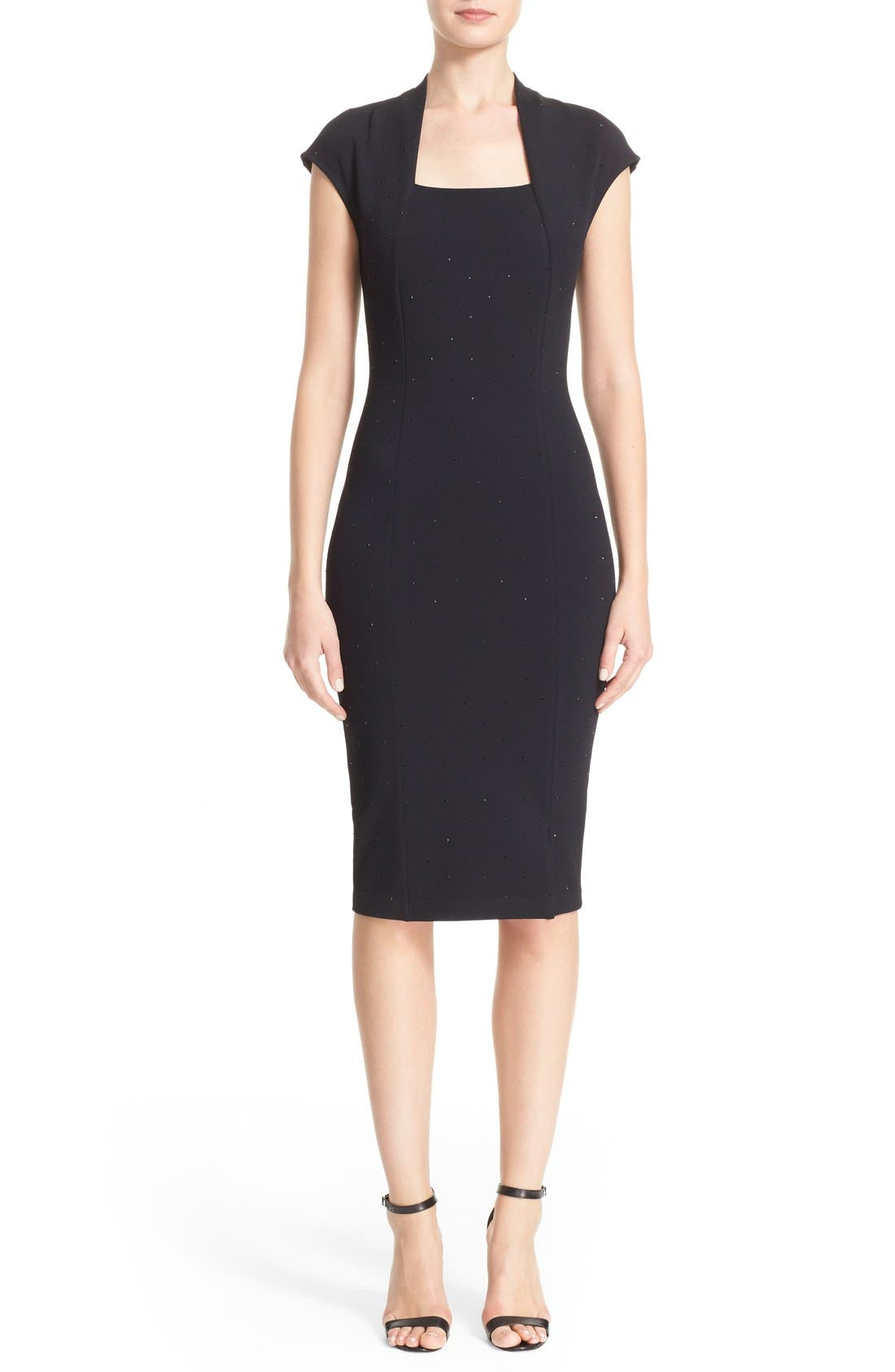 Embellished Luxe Sculpture Knit Dress,                             Main thumbnail 1, color,                             001