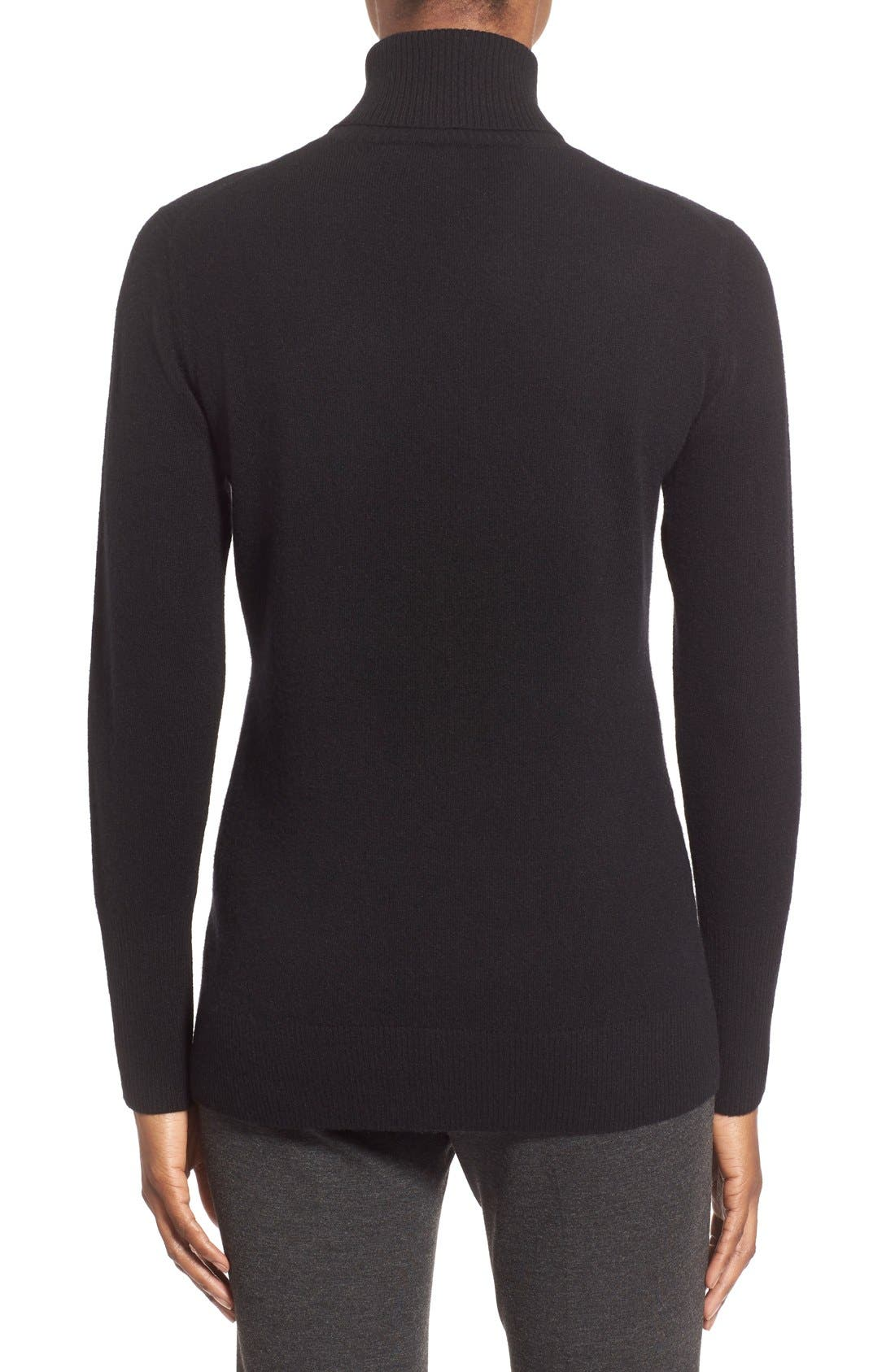 NORDSTROM COLLECTION,                             Cashmere Turtleneck Sweater,                             Alternate thumbnail 4, color,                             001
