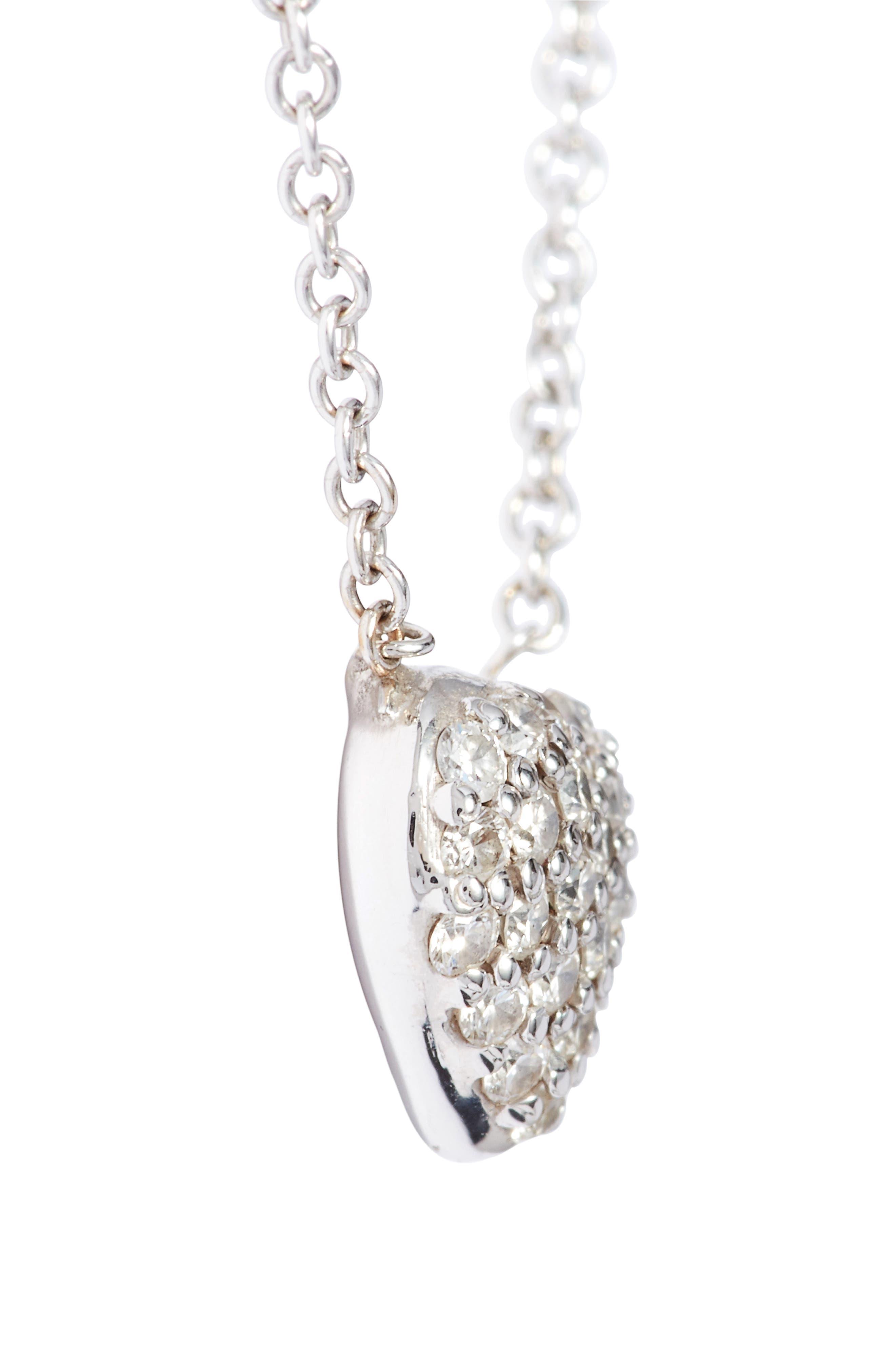 Diamond Pavé Heart Pendant Necklace,                             Alternate thumbnail 4, color,                             WHITE GOLD