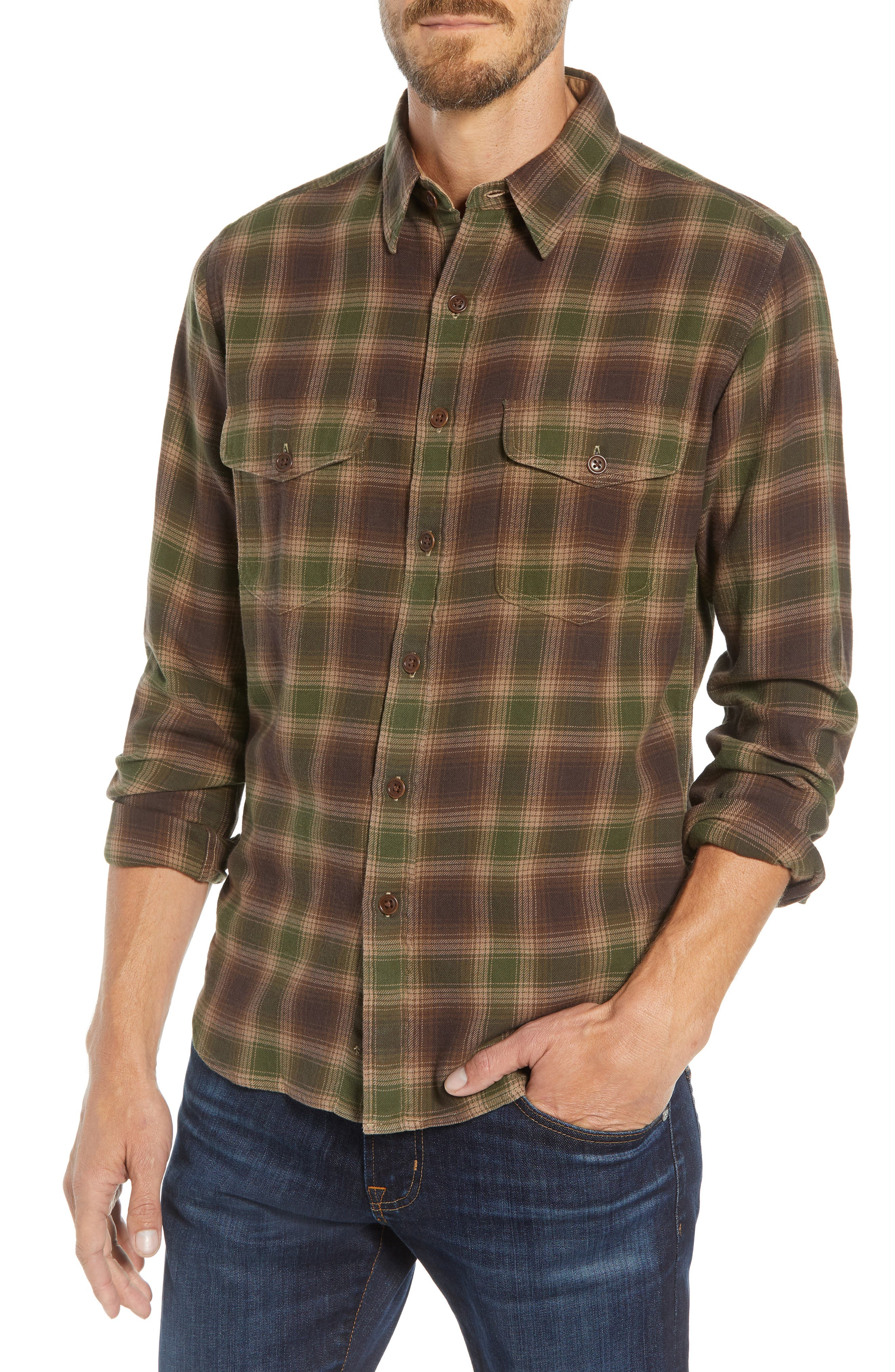 Frye Marlon Plaid Shirt, Brown