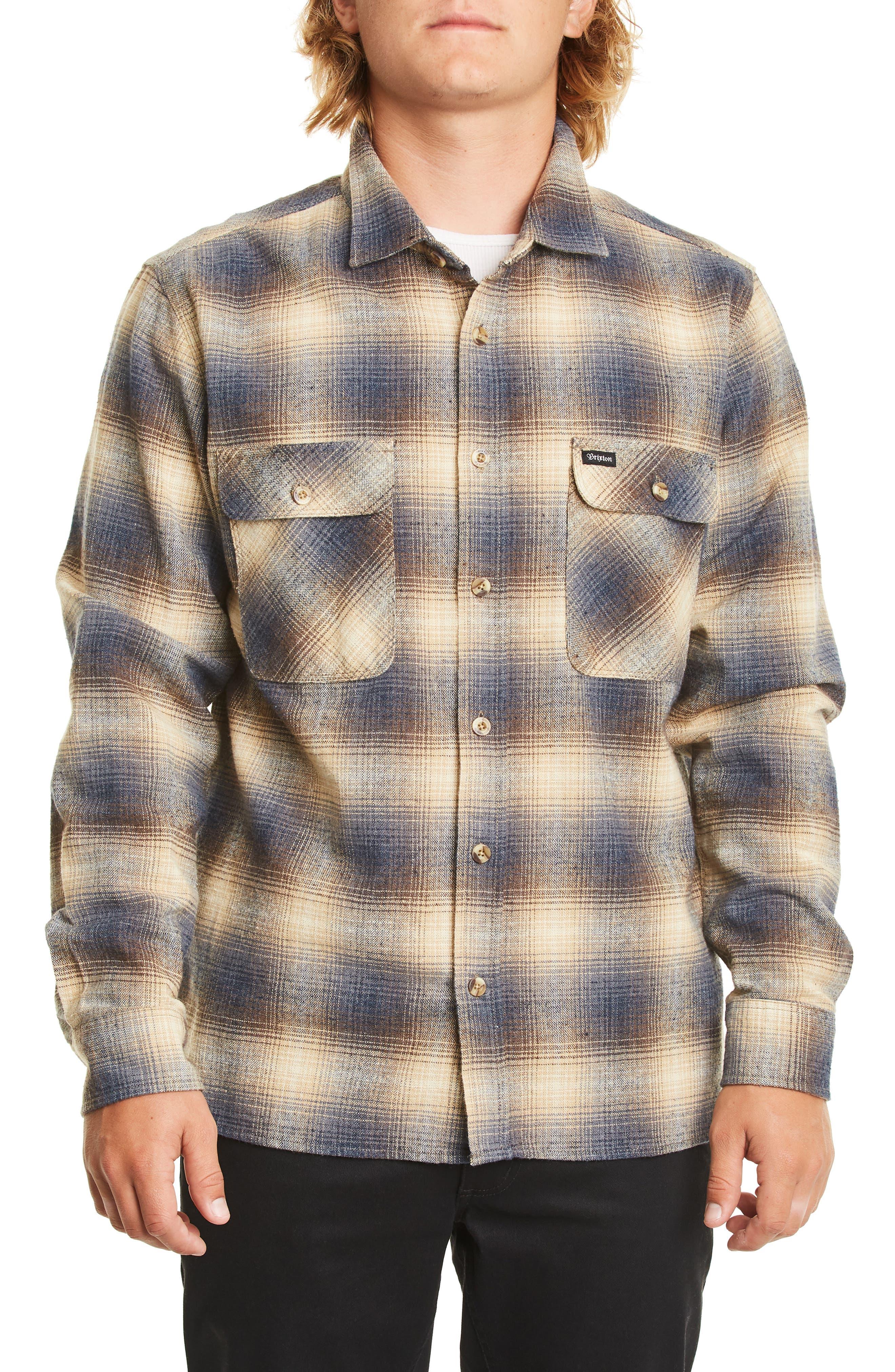 Brixton Archie Neppy Ombre Plaid Sport Shirt, Blue
