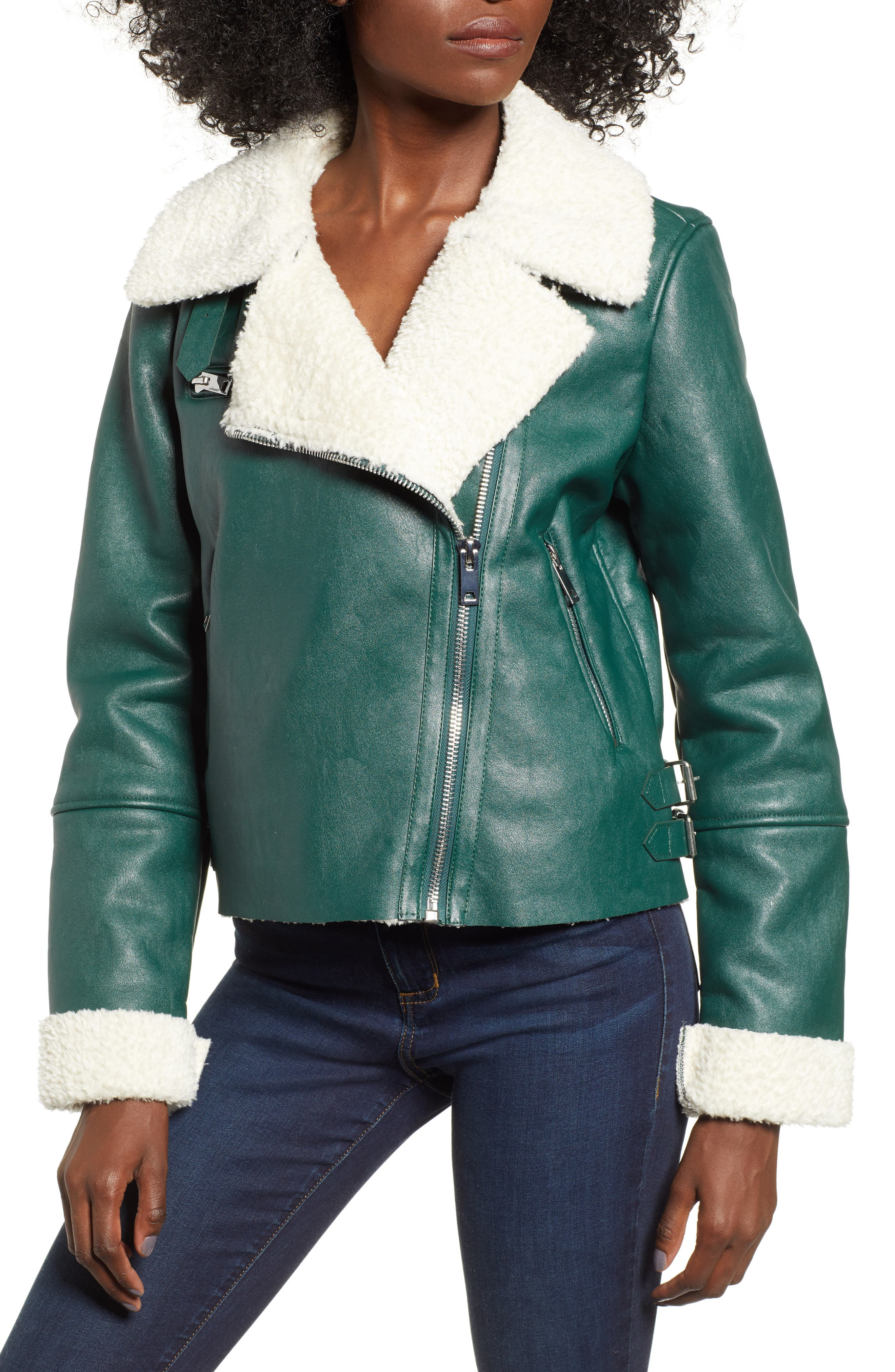 Moto Jacket with Faux Shearling Lining,                             Alternate thumbnail 4, color,                             OUT OF THE WOODS