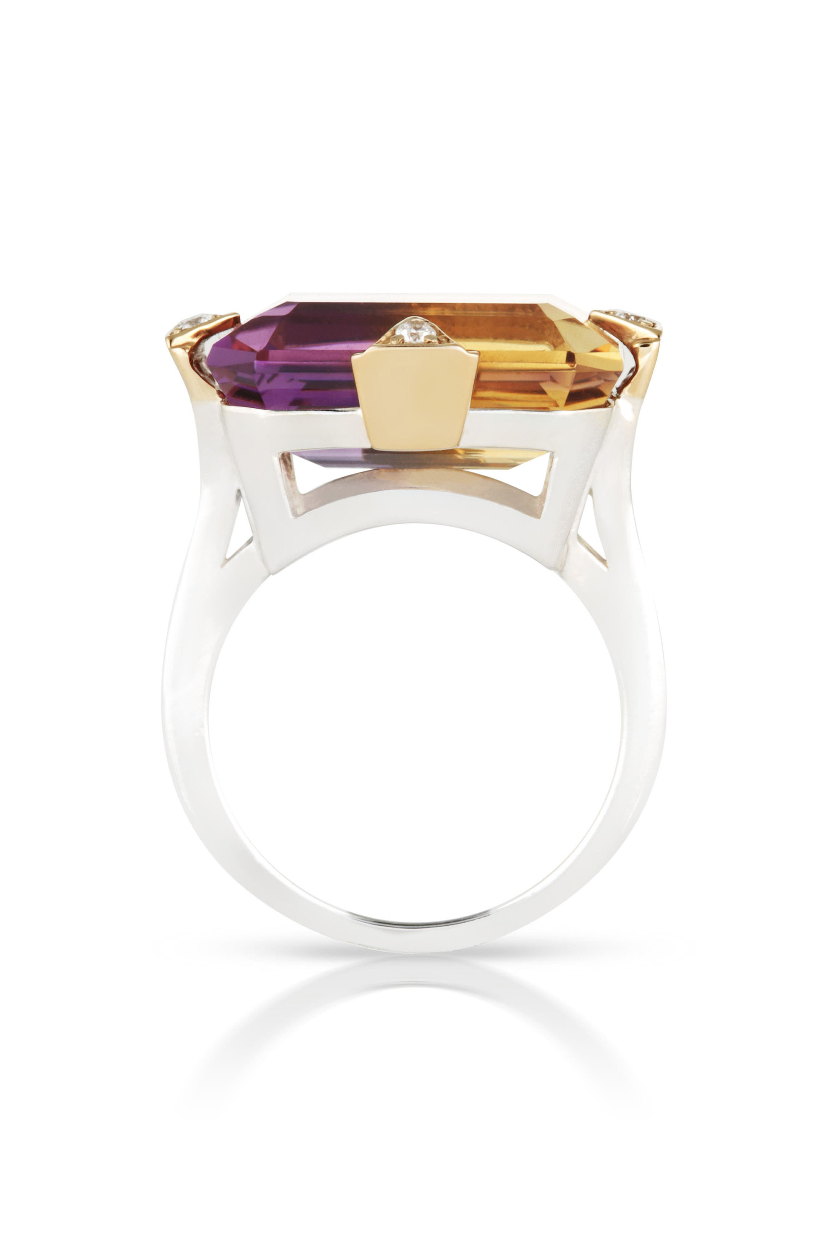Cocktail Ring with Diamonds,                             Alternate thumbnail 2, color,                             AMETRINE