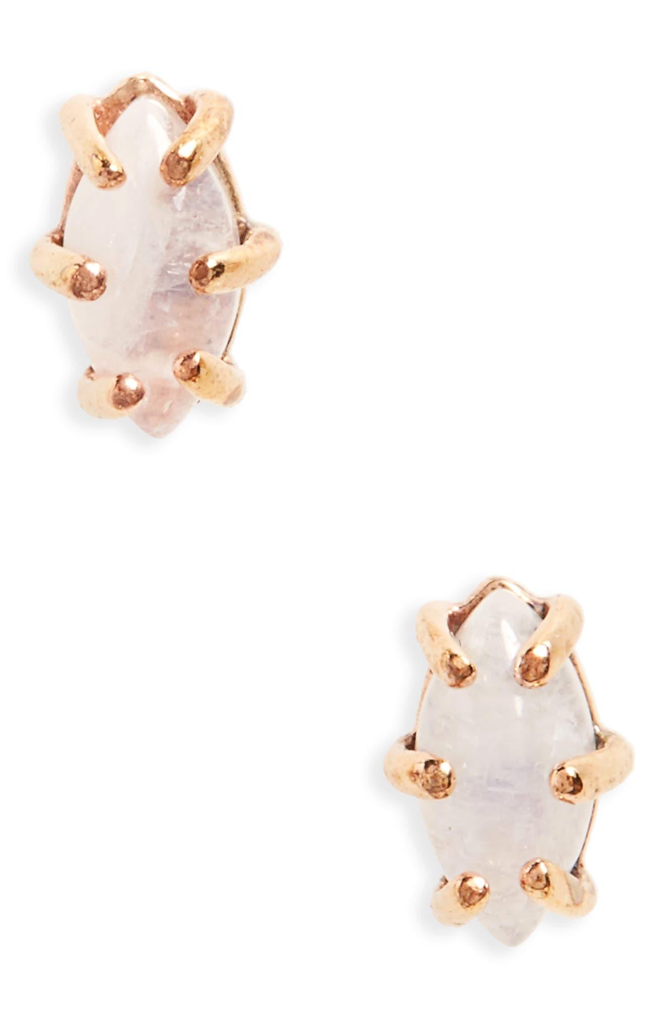 Moonstone Stud Earrings,                         Main,                         color,