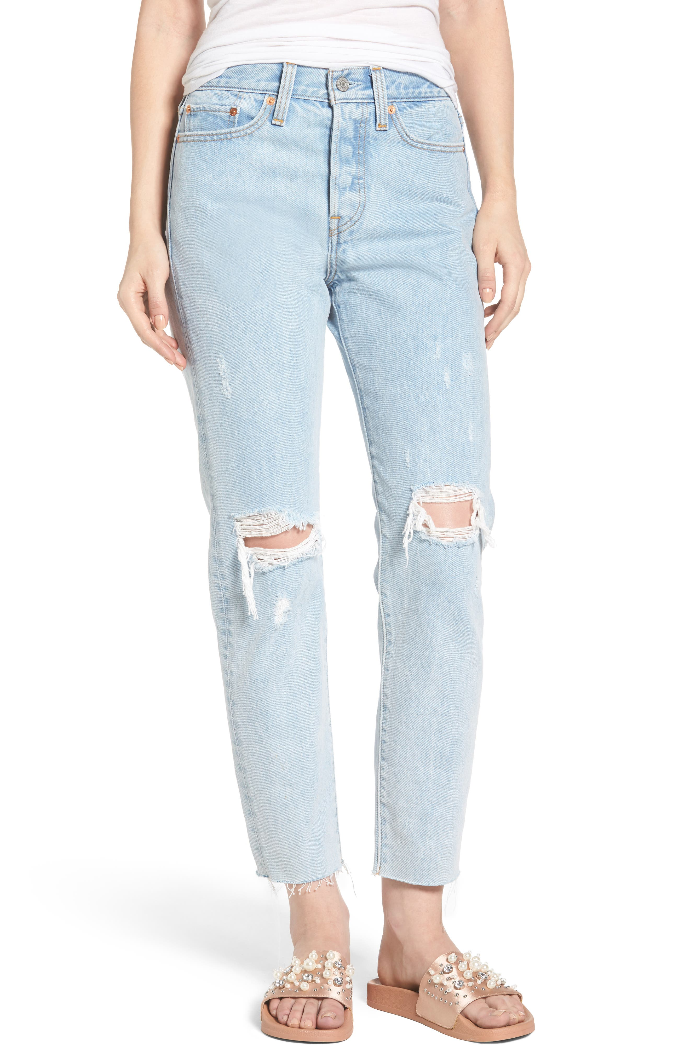 Wedgie High Waist Crop Jeans,                         Main,                         color, 450