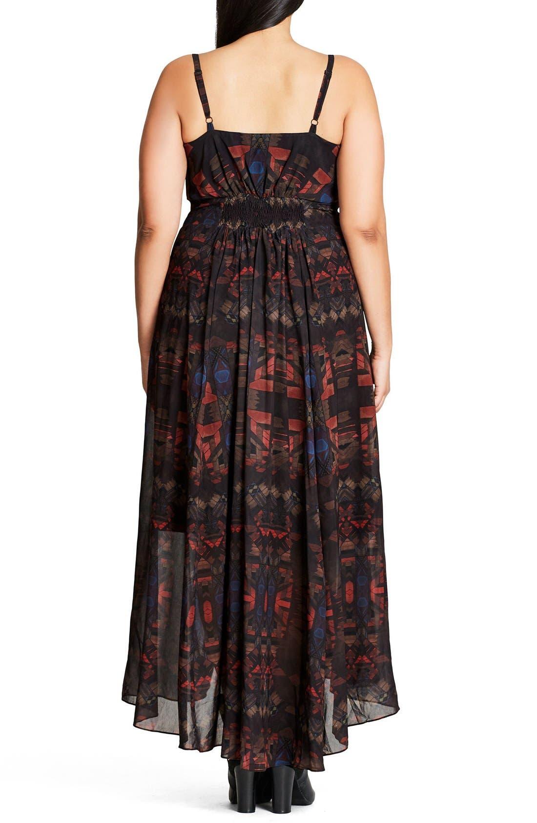 Aztec Warrior Smocked Waist Maxi Dress,                             Alternate thumbnail 5, color,                             001