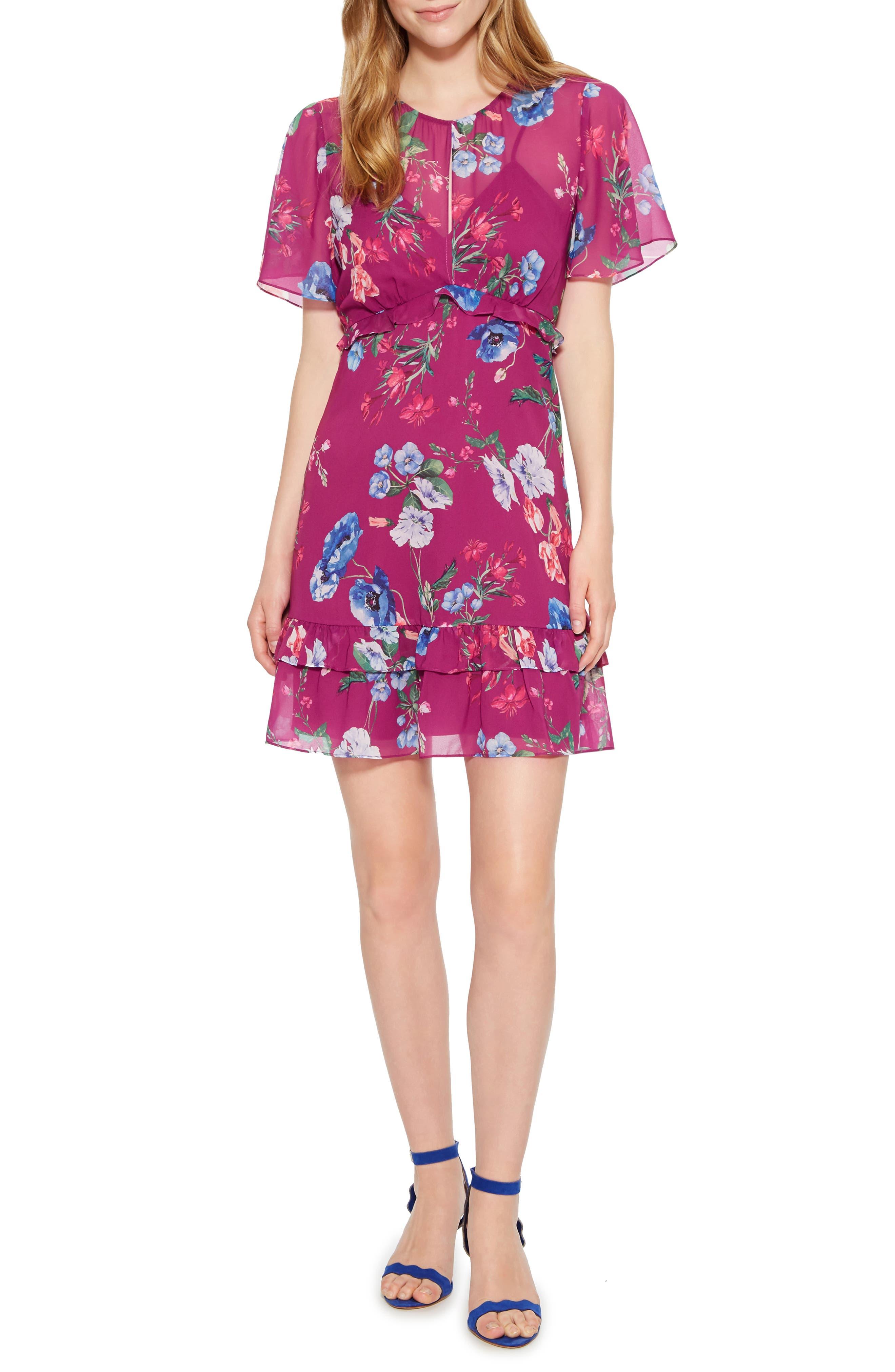 Marina Tiered Ruffle Dress,                             Main thumbnail 1, color,                             405