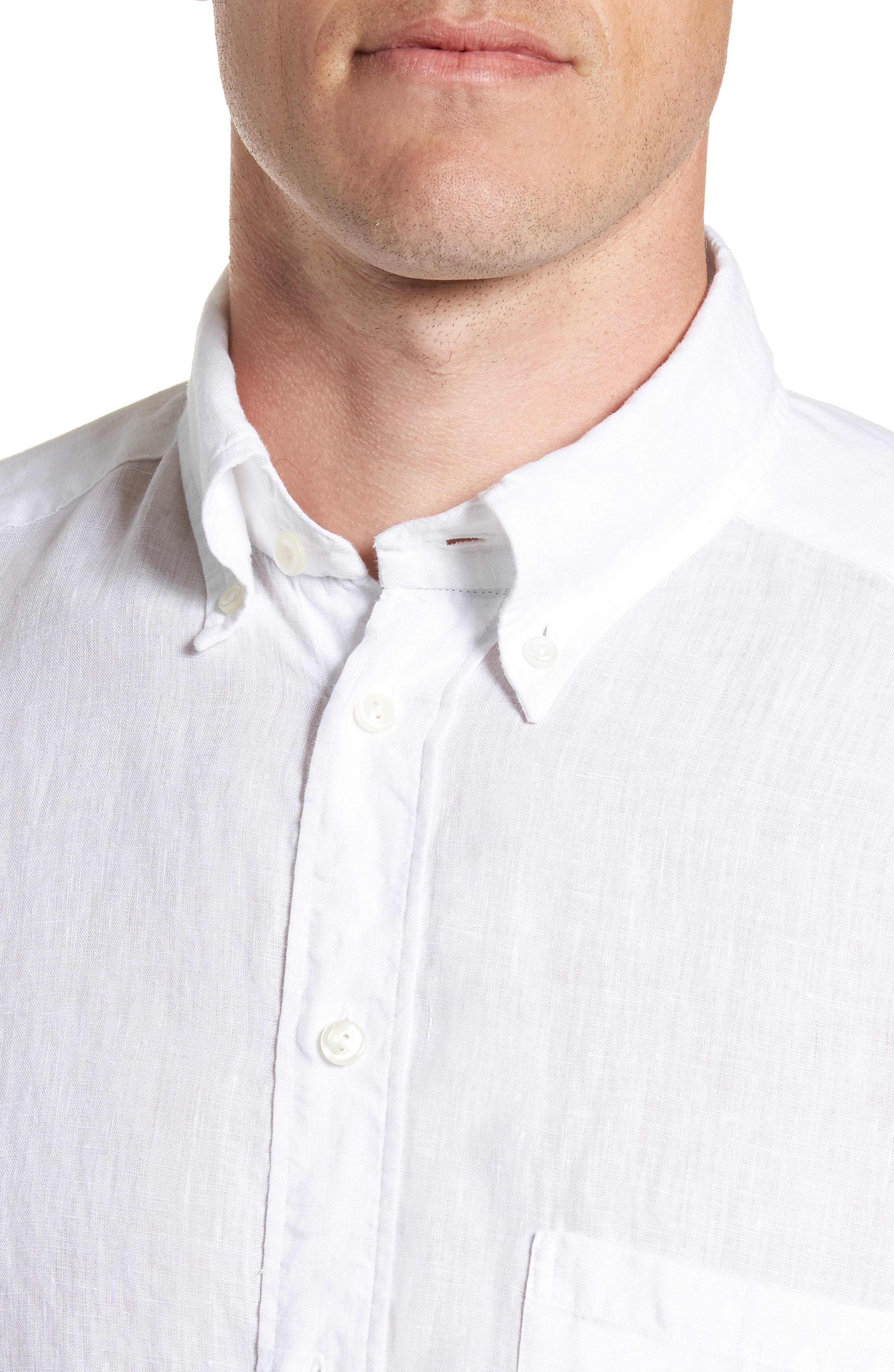 Contemporary Fit Solid Linen Dress Shirt,                             Alternate thumbnail 2, color,                             WHITE