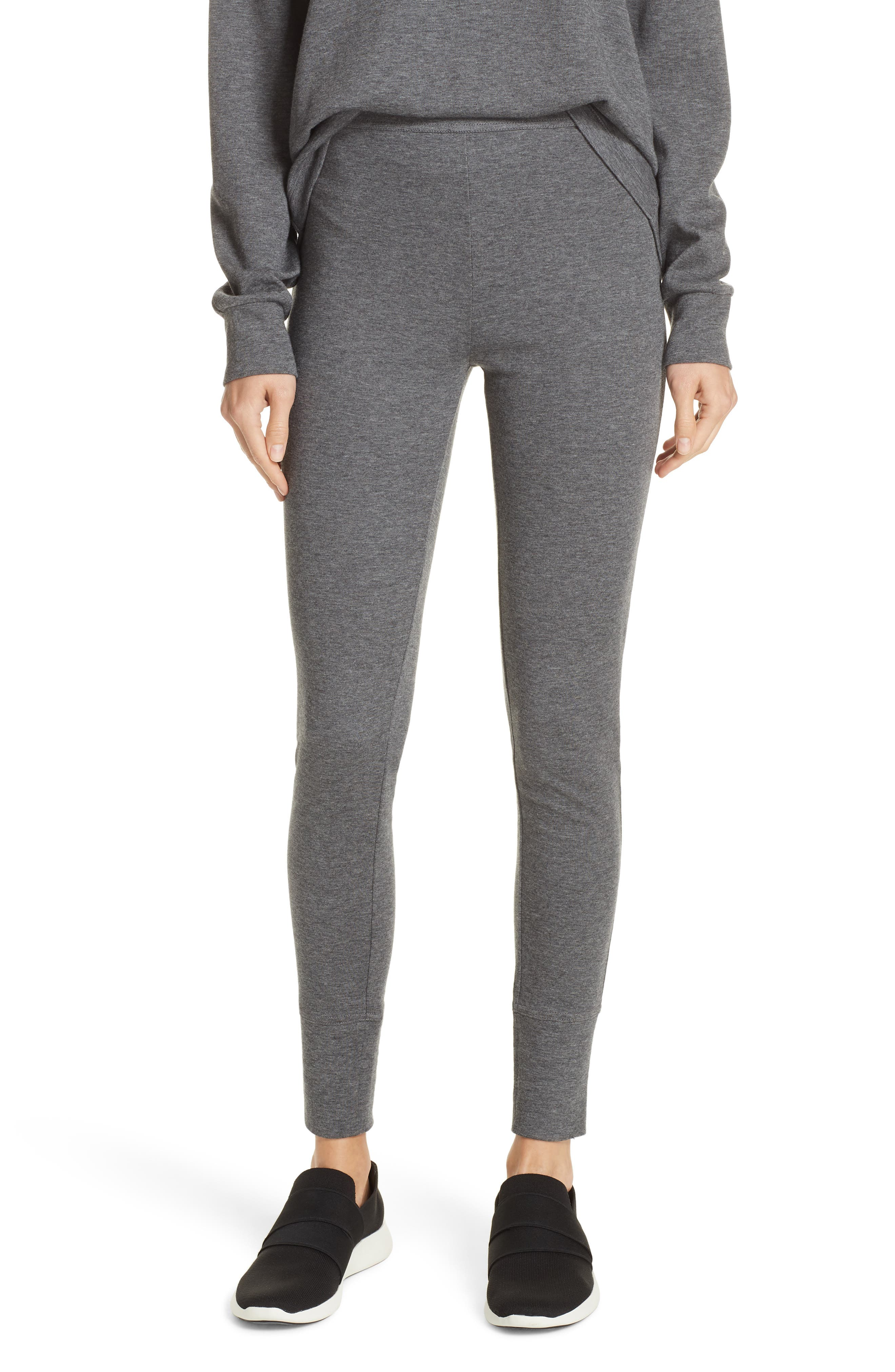 Heathered Cotton Blend Leggings,                         Main,                         color, HEATHER CHARCOAL
