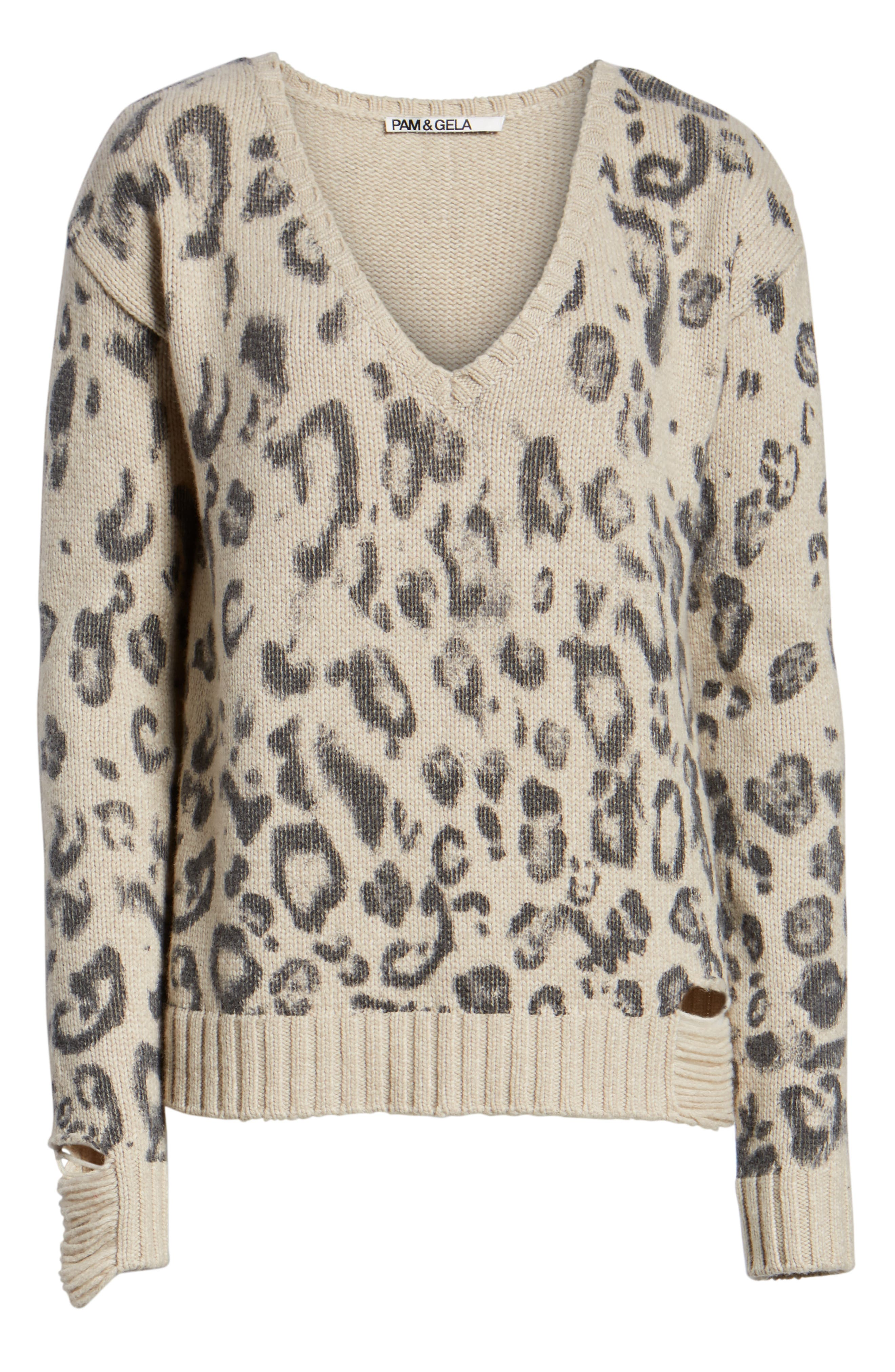 Leopard V-Neck Sweater,                             Alternate thumbnail 6, color,