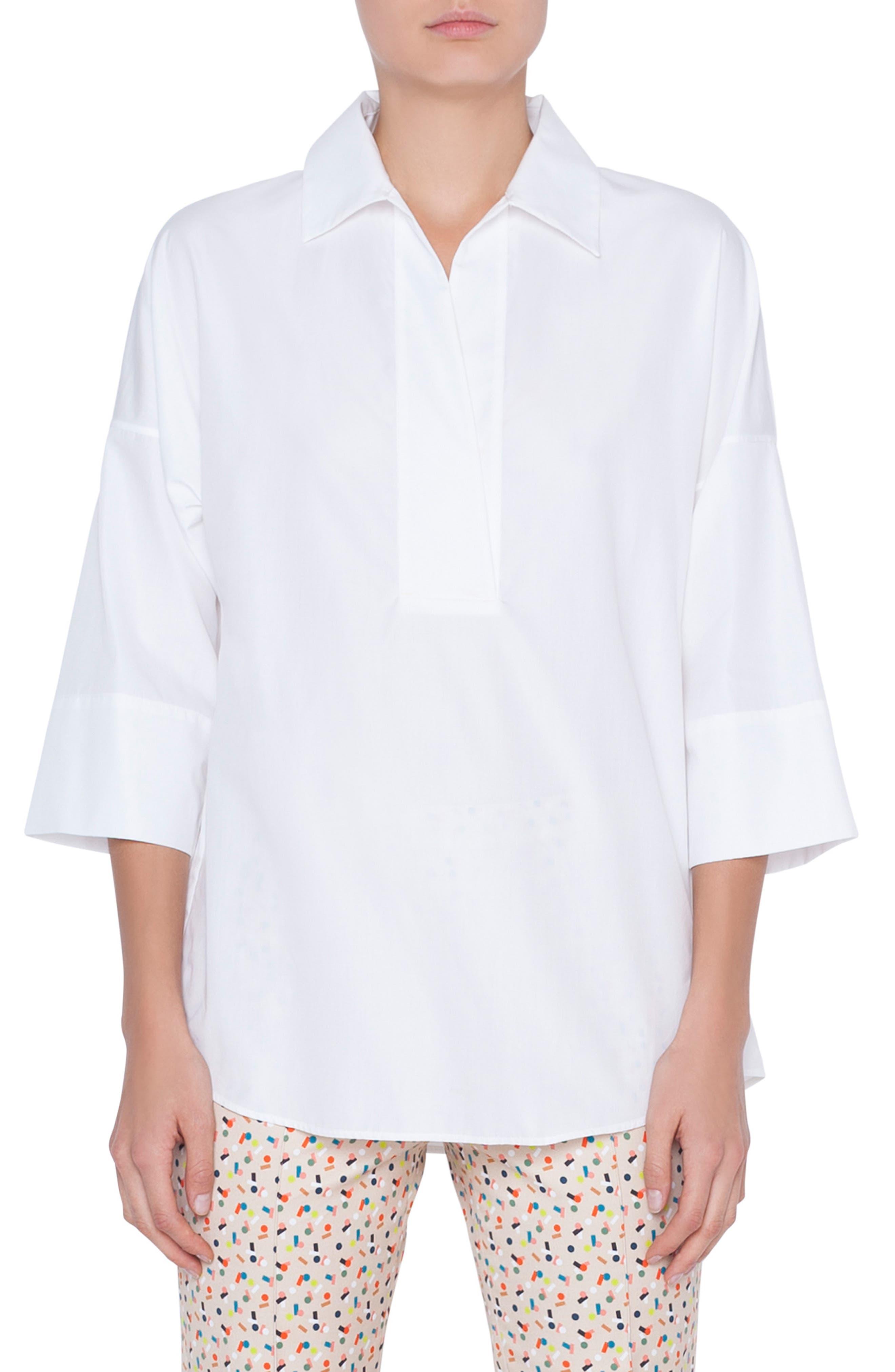 Akris Punto Cotton Poplin Tunic, White