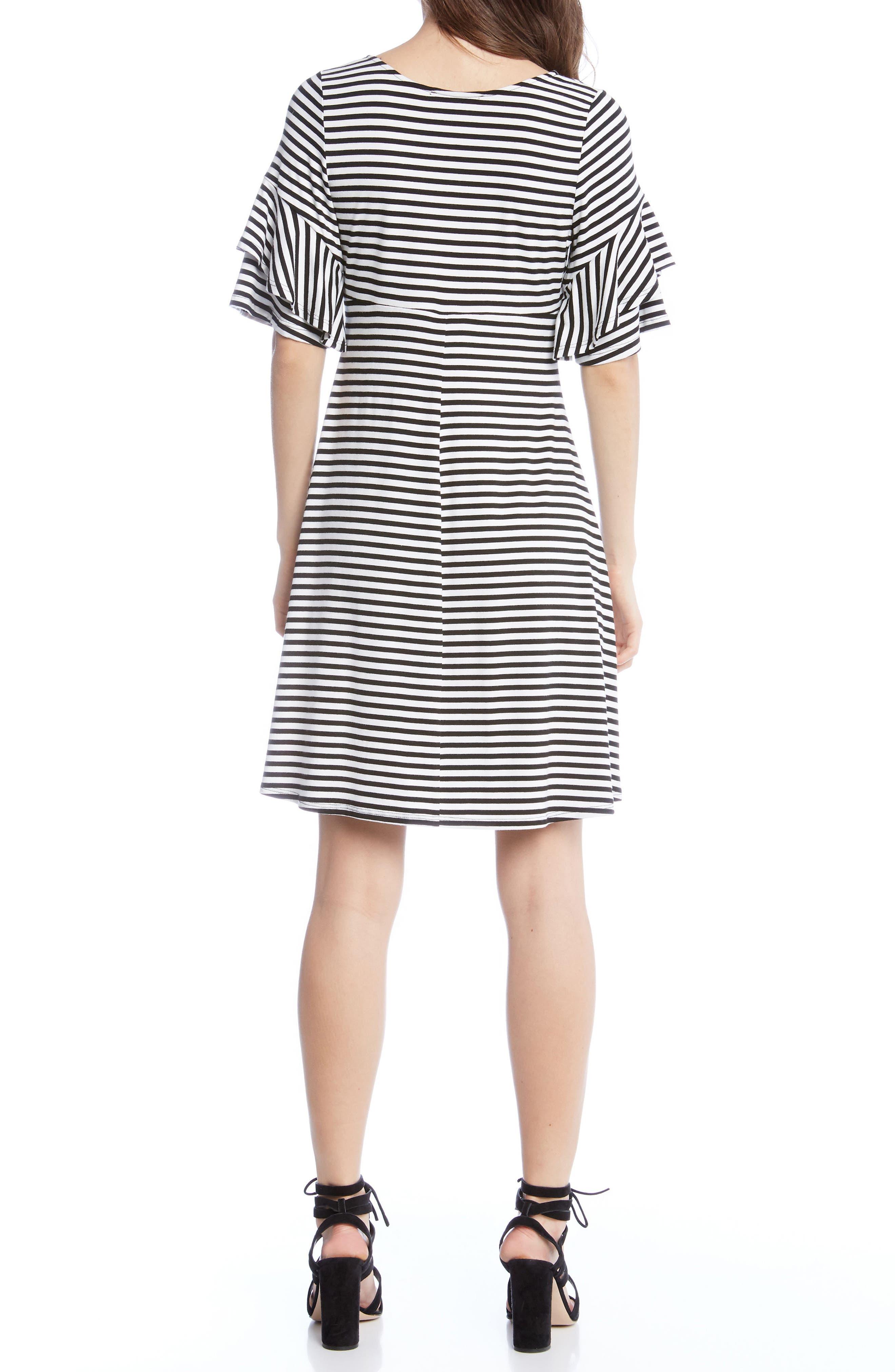 Ruffle Sleeve Stripe Dress,                             Alternate thumbnail 2, color,                             001