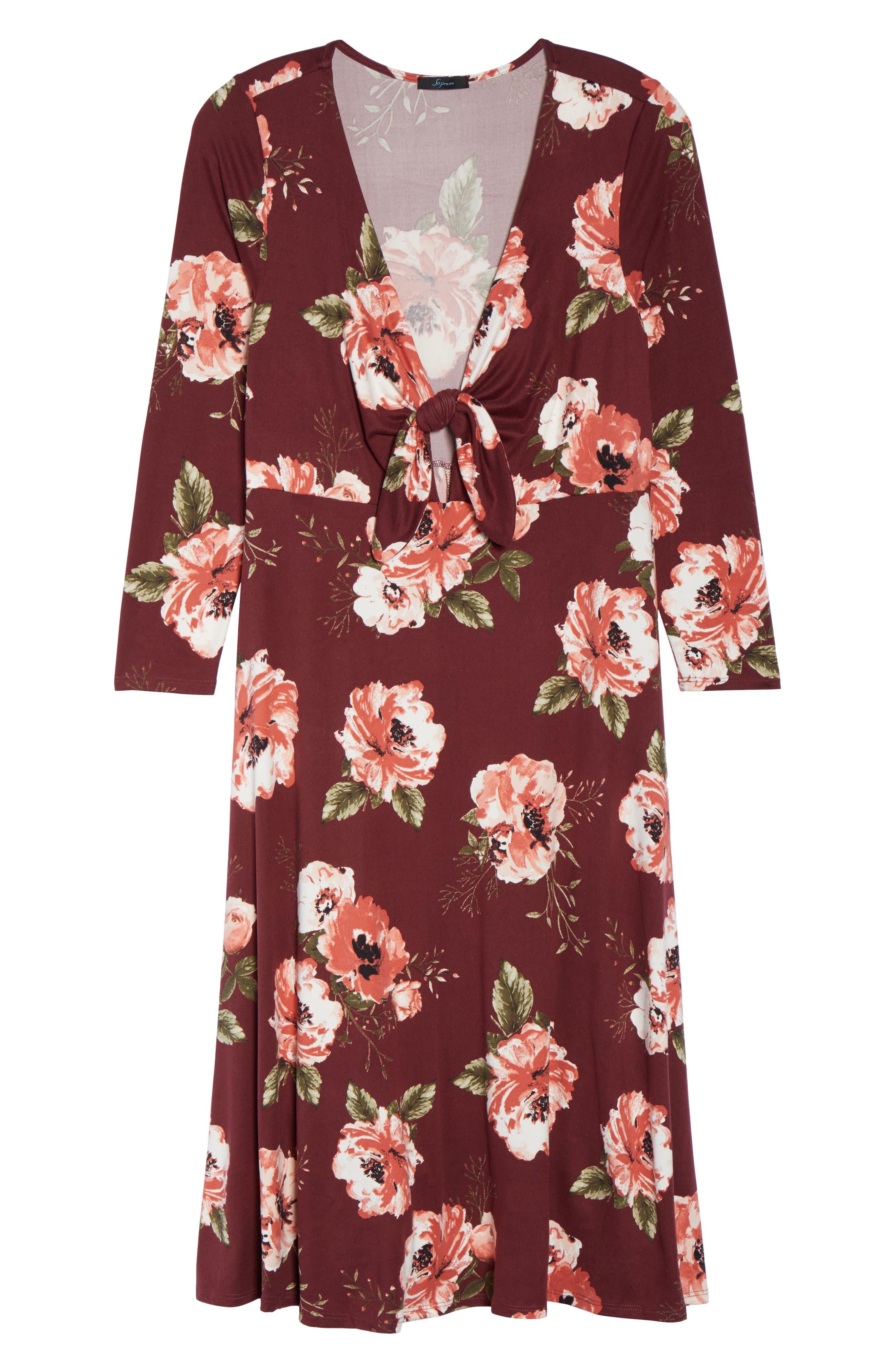 Plunging Floral Midi Dress,                             Alternate thumbnail 12, color,