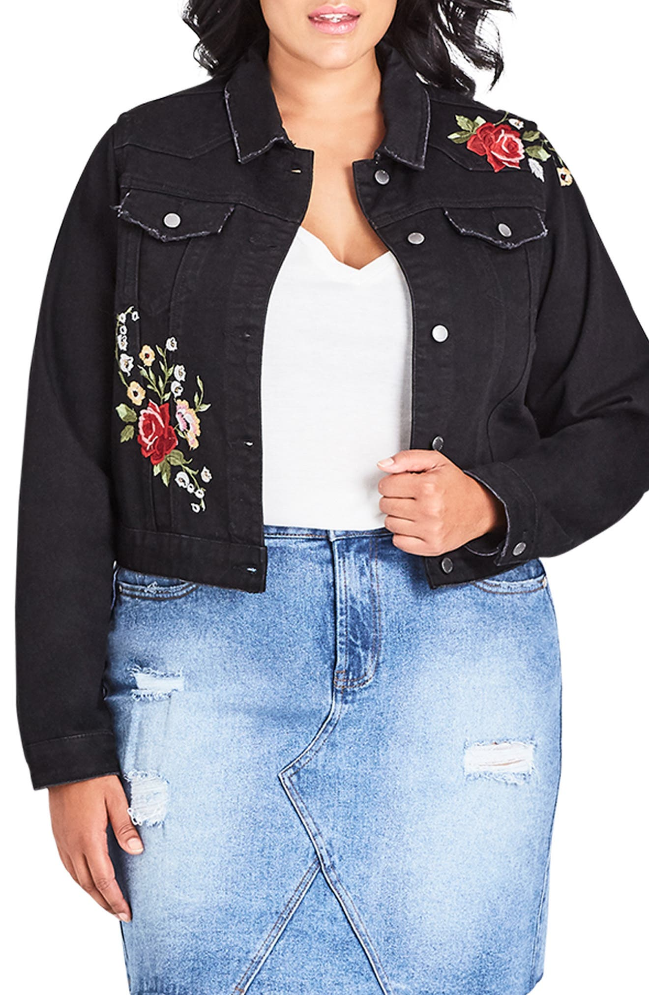 City Chic London Rose Embroidered Denim Jacket Plus Size Nordstrom