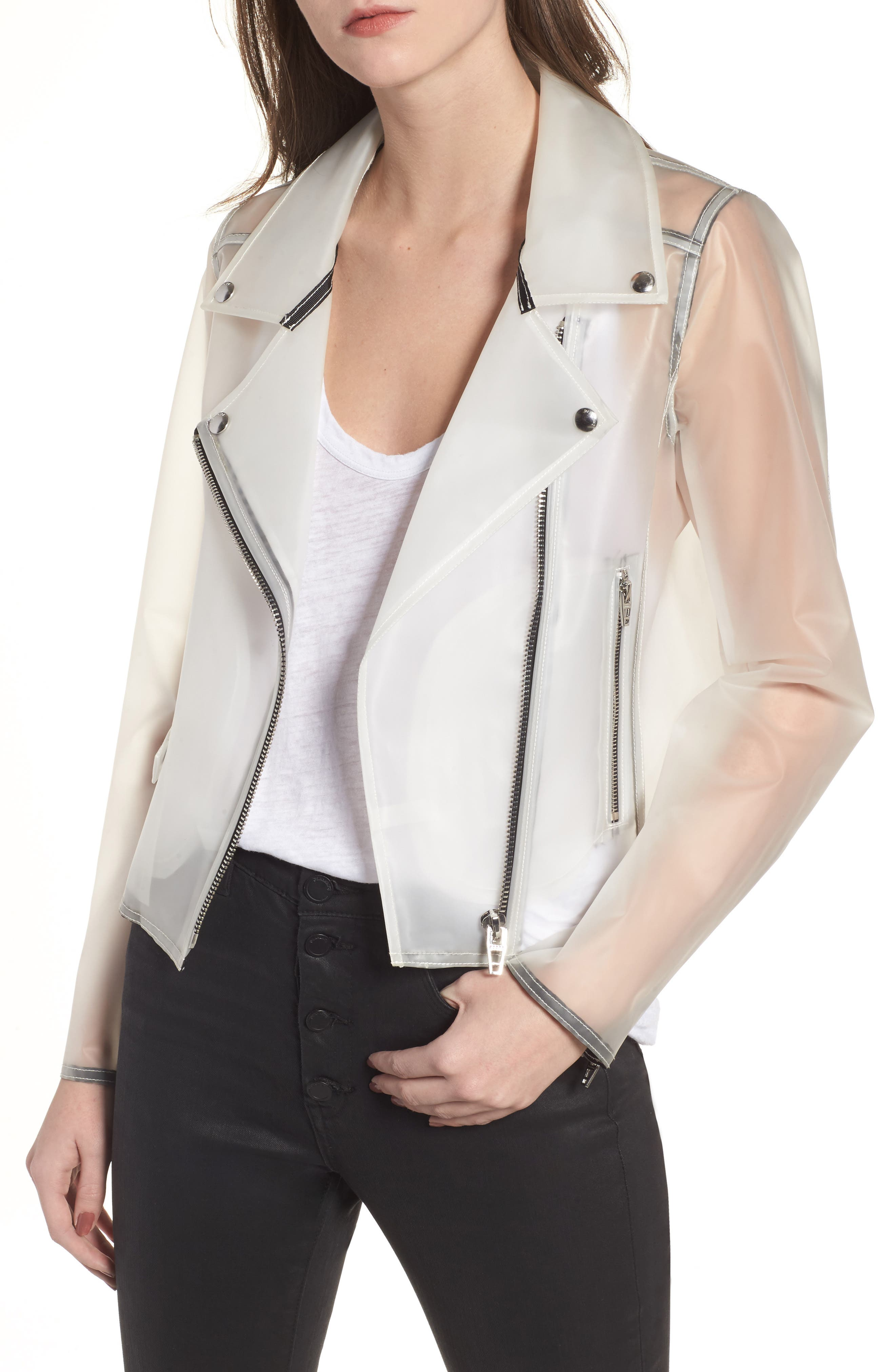 Plastic Moto Jacket,                             Main thumbnail 1, color,                             100