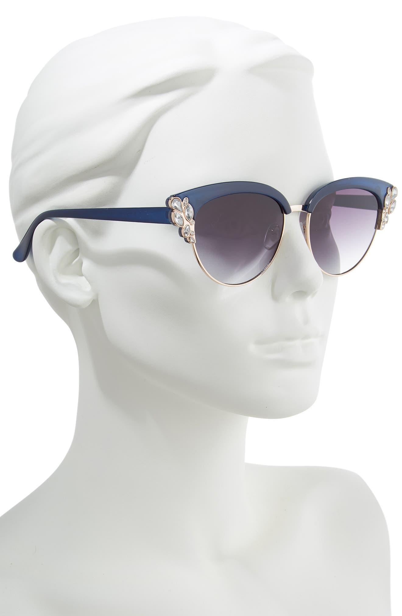 58mm Embellished Cat Eye Sunglasses,                             Alternate thumbnail 2, color,                             BLUE/ GOLD
