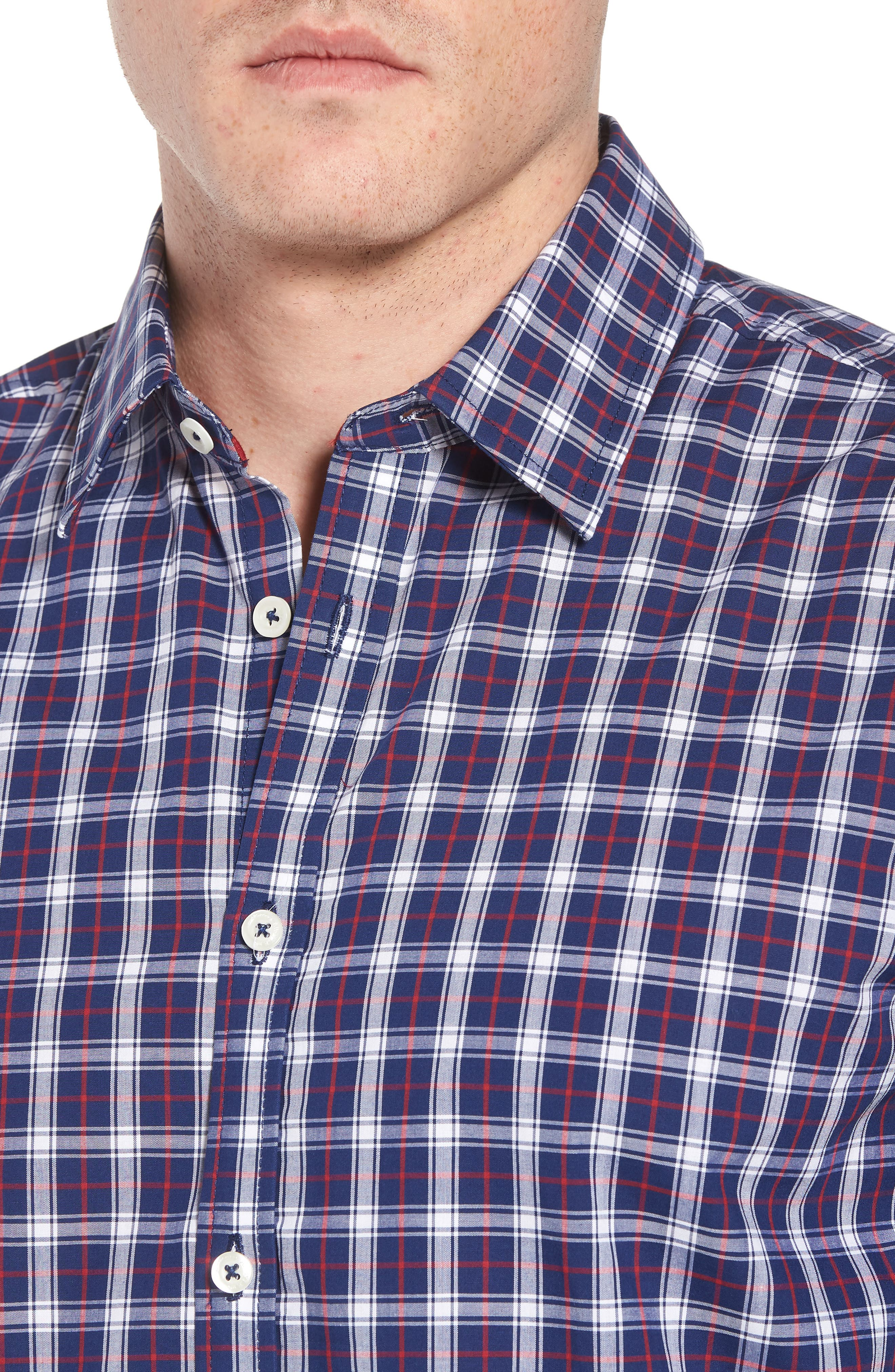 Slim Fit Check Sport Shirt,                             Alternate thumbnail 4, color,                             411