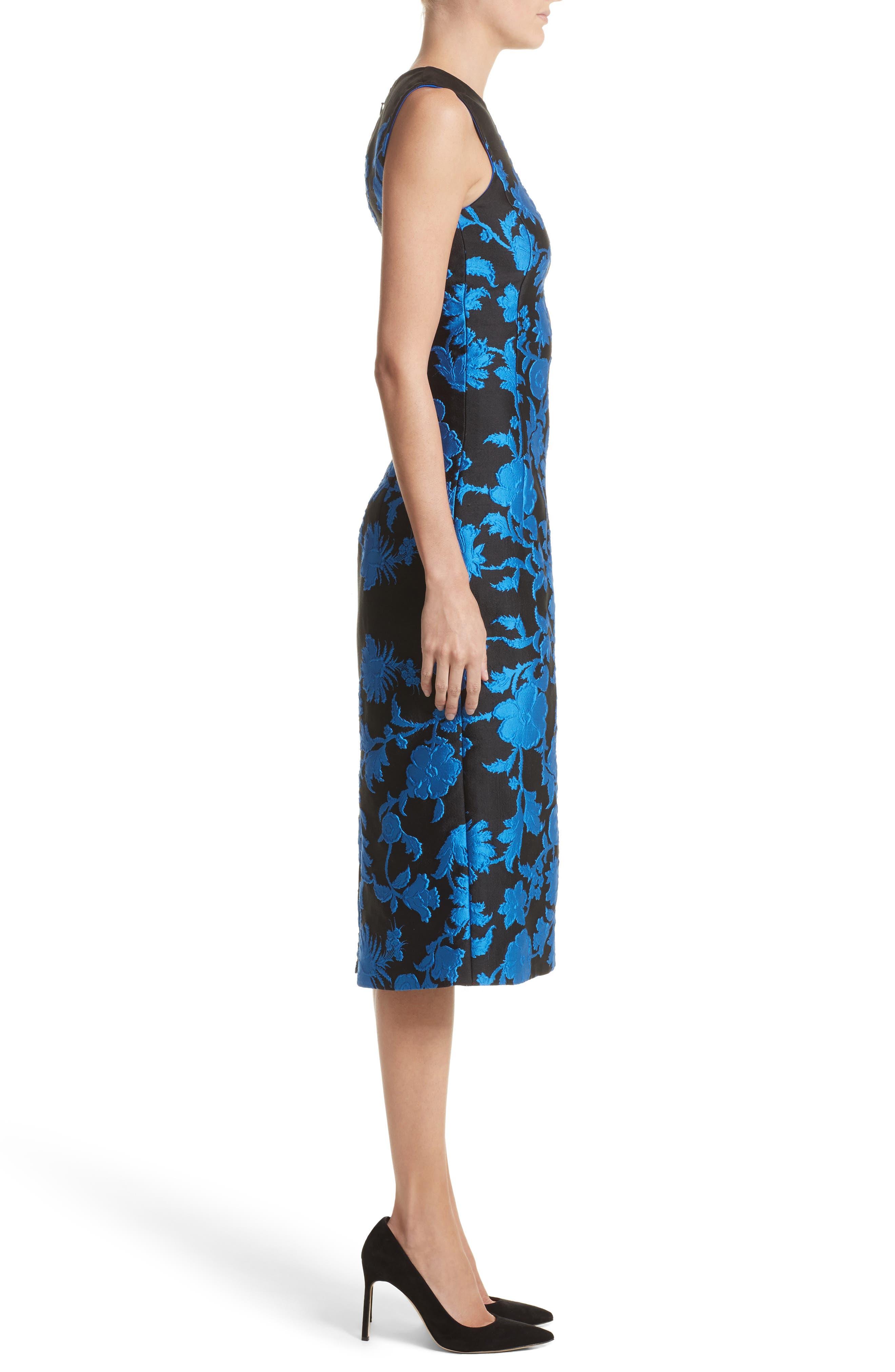 Matelassé Floral Jacquard Dress,                             Alternate thumbnail 3, color,                             400