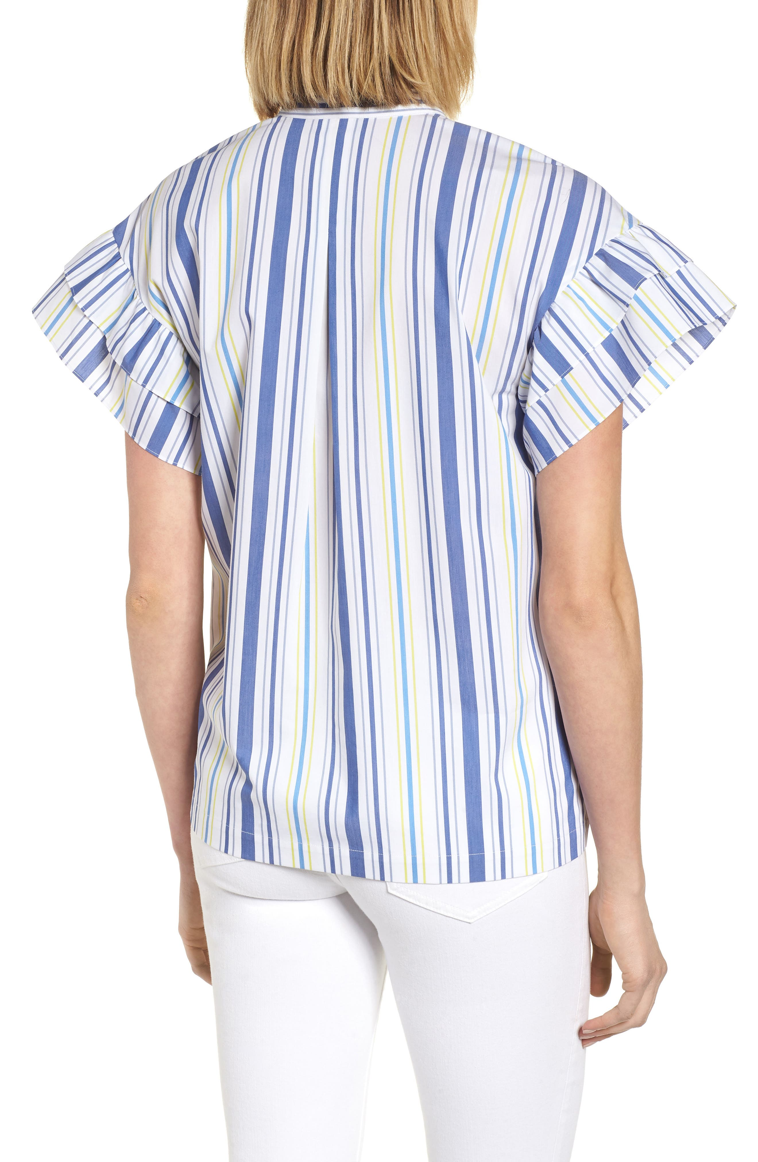 Ruffle Sleeve Stretch Cotton Blend Blouse,                             Alternate thumbnail 8, color,
