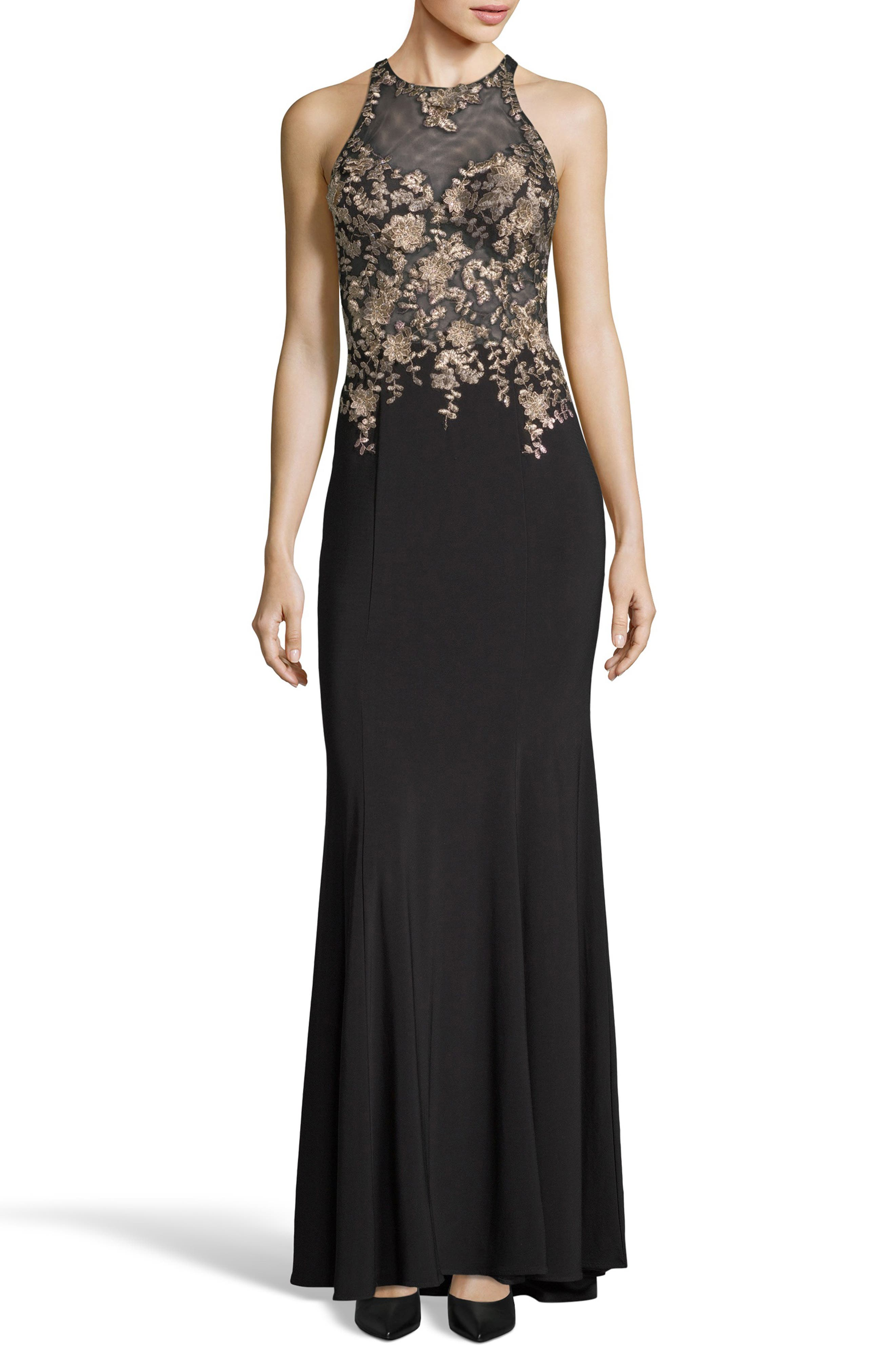 Floral Embroidered Gown,                             Main thumbnail 1, color,                             BLACK/ GOLD