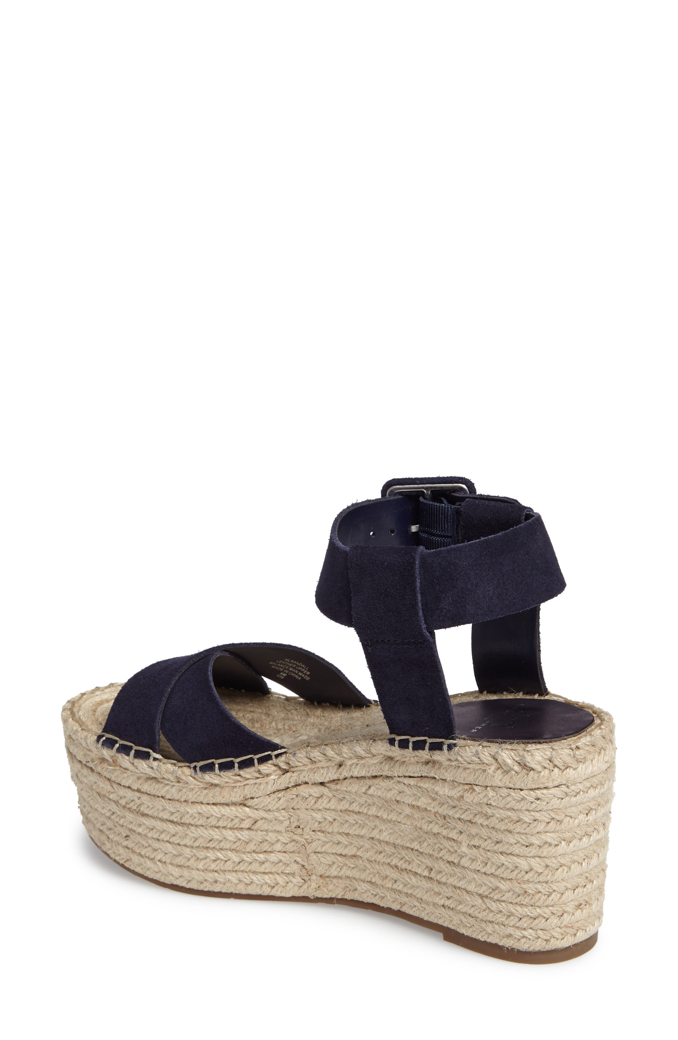 'Randall' Platform Wedge,                             Alternate thumbnail 2, color,                             NAVY SUEDE