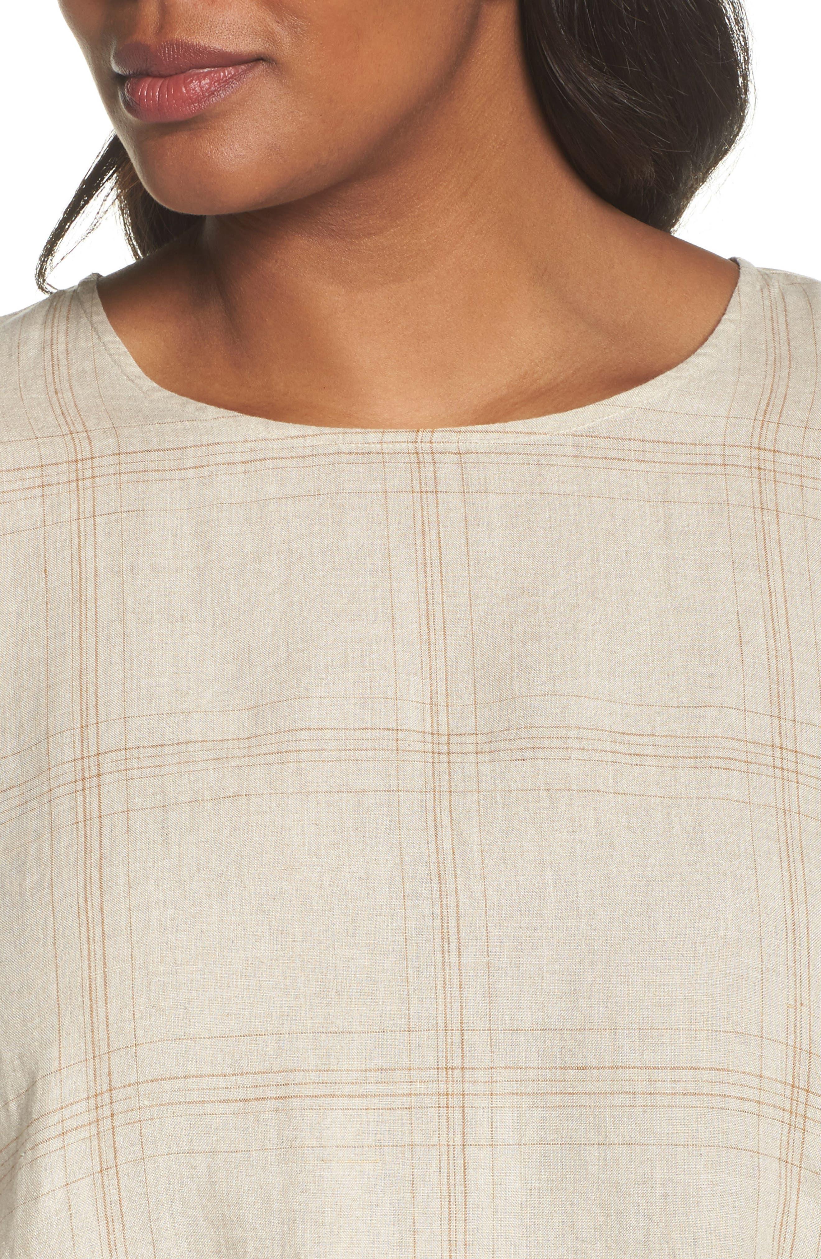 Plaid Organic Linen Tunic,                             Alternate thumbnail 8, color,