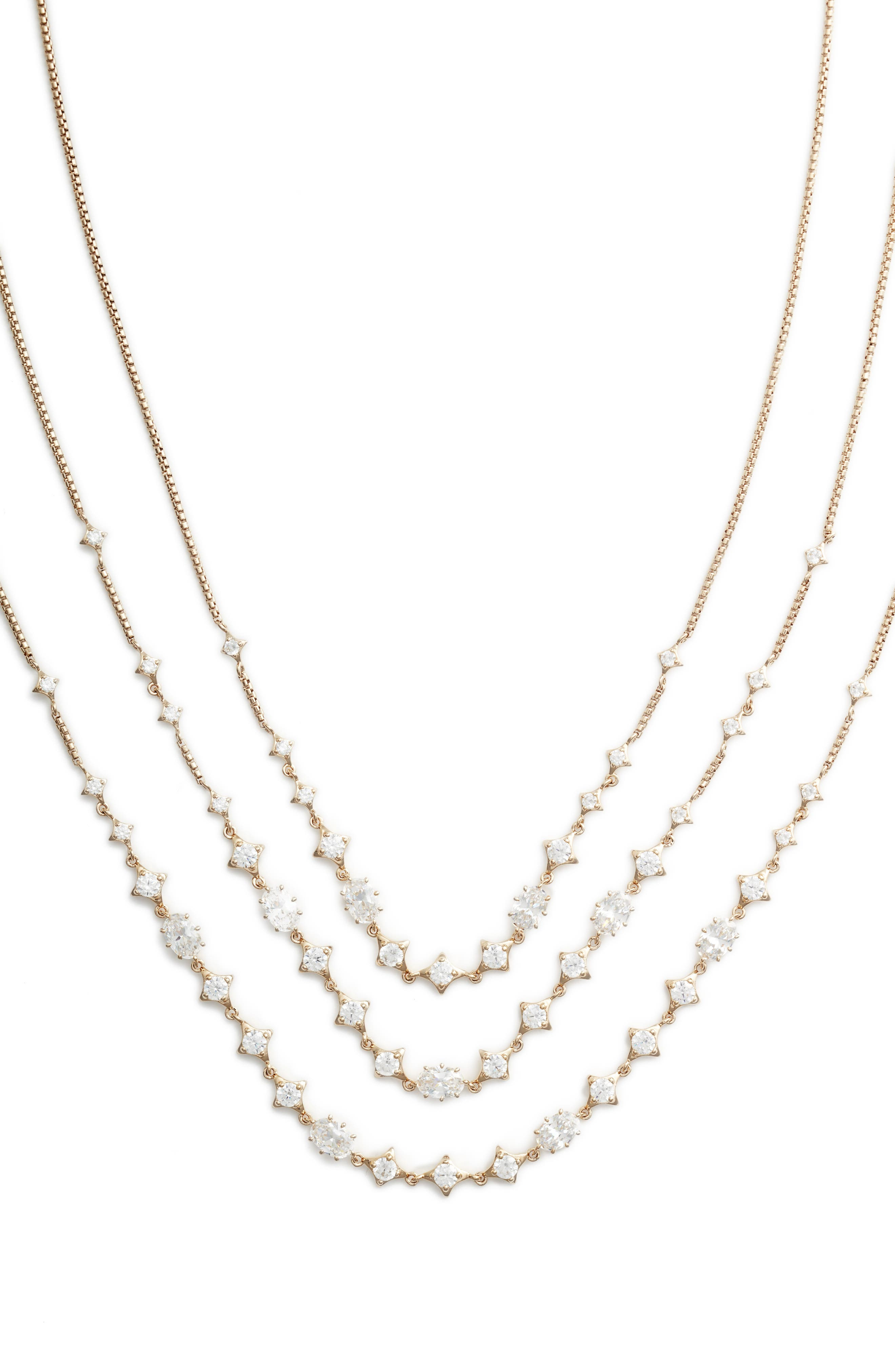 Boho Layered Necklace,                             Alternate thumbnail 2, color,                             GOLD/ CLEAR