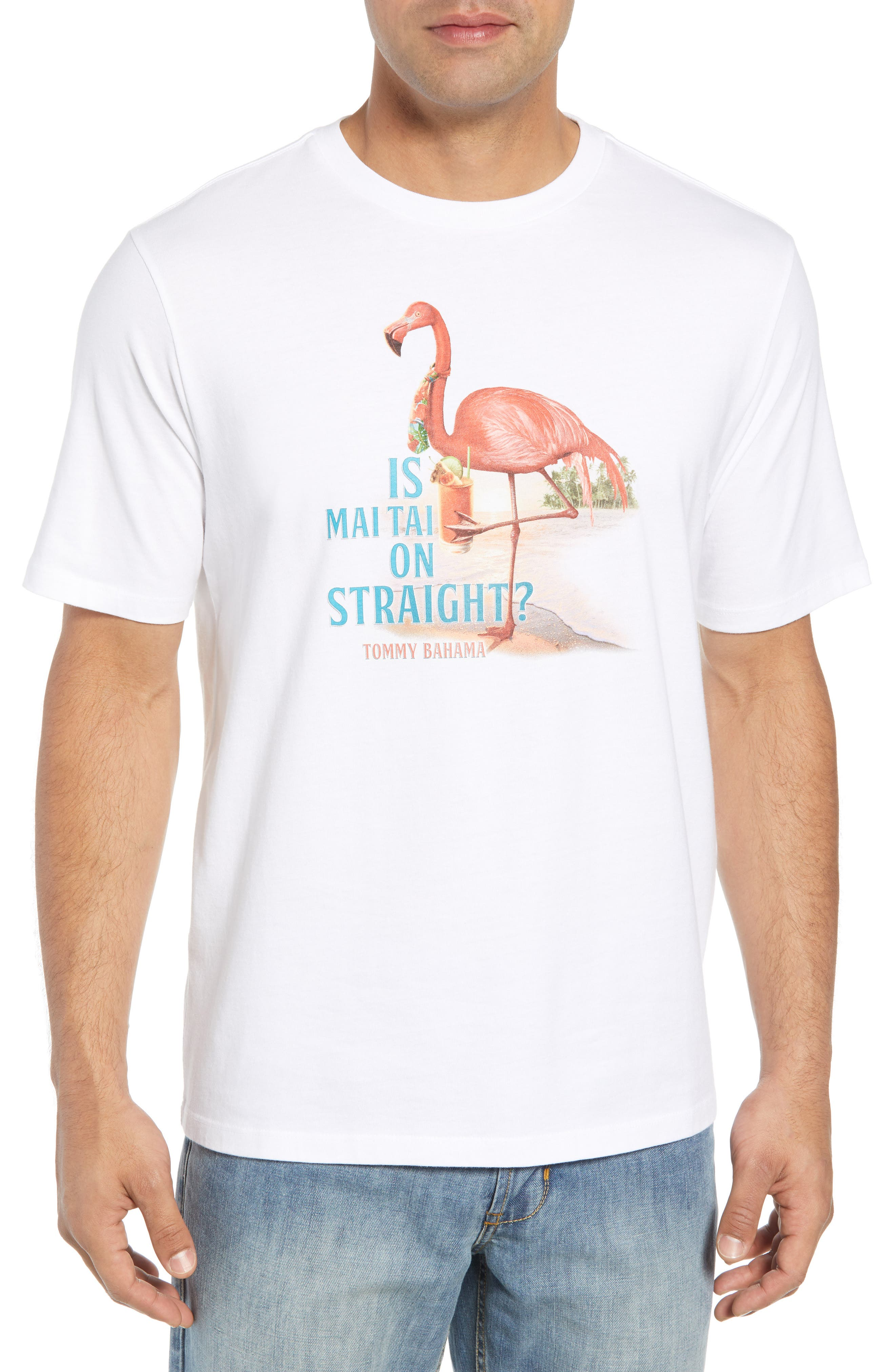 Is Mai Tai on Straight? T-Shirt,                         Main,                         color, WHITE