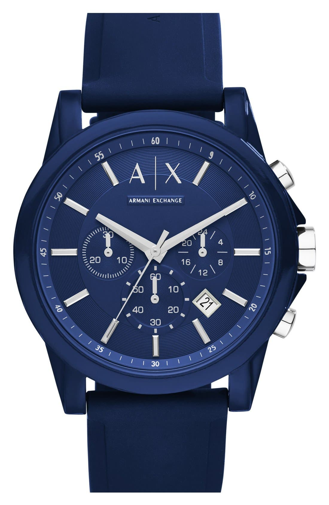 Chronograph Silicone Strap Watch, 44mm,                             Main thumbnail 1, color,                             BLUE/ BLUE
