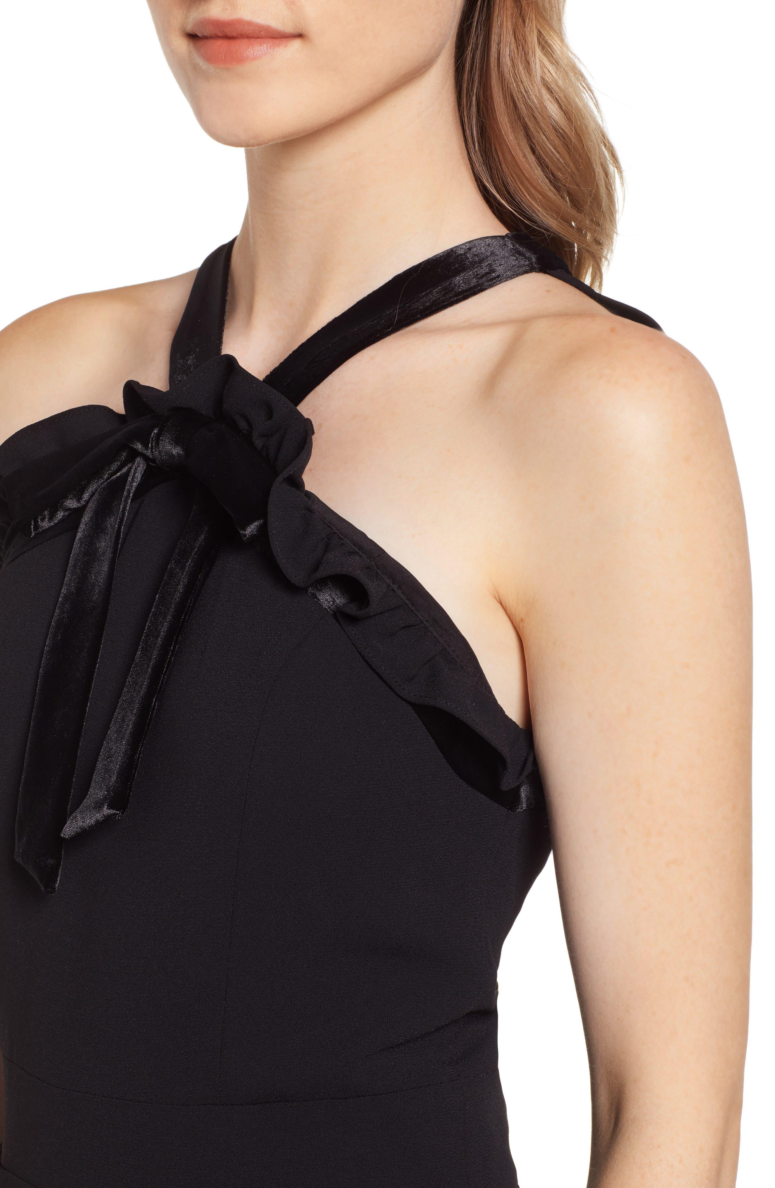 Velvet Bow Detail Jumpsuit,                             Alternate thumbnail 4, color,                             RICH BLACK