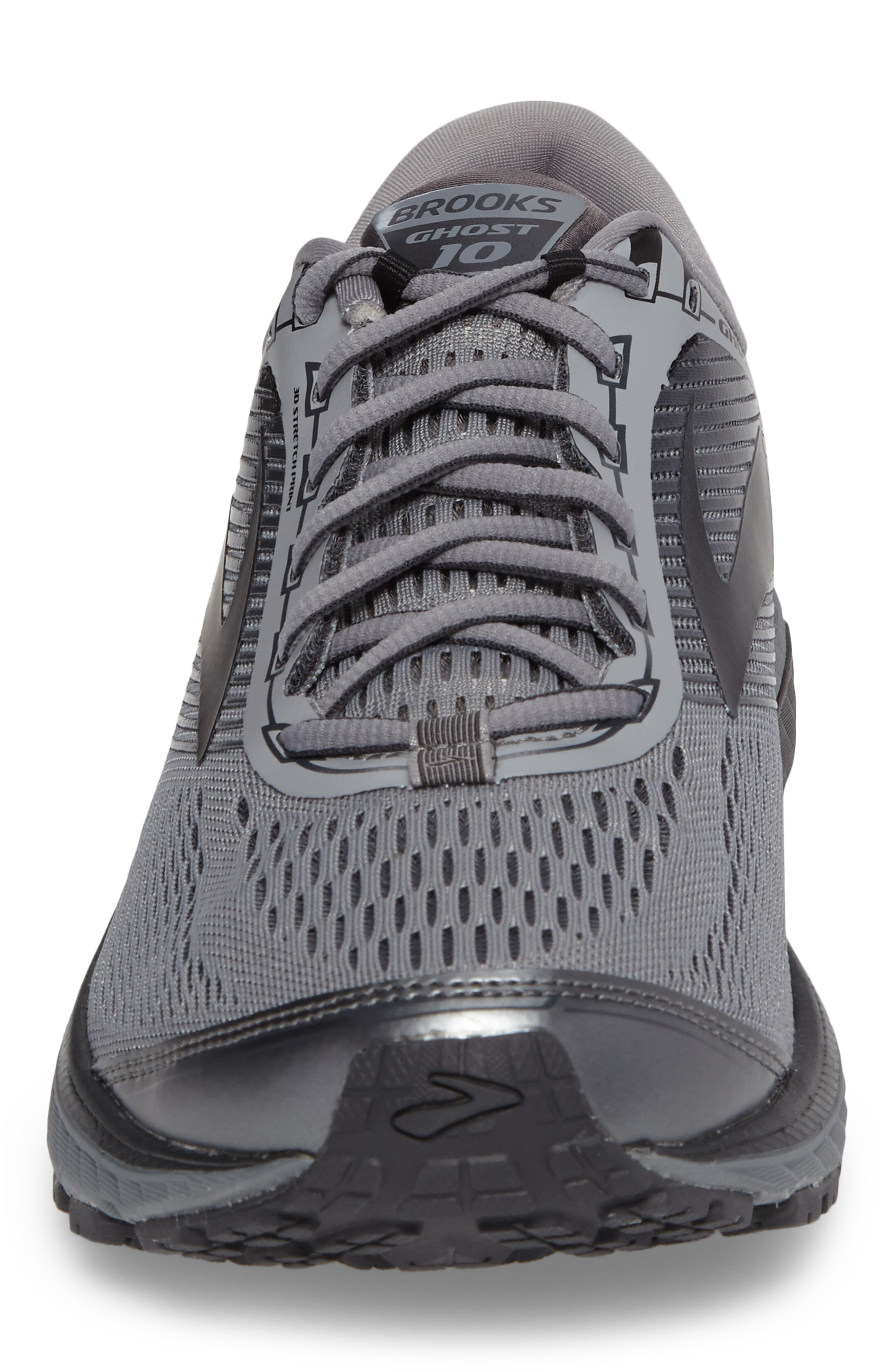 Ghost 10 Running Shoe,                             Alternate thumbnail 4, color,                             GREY/ METALLIC CHARCOAL/ EBONY
