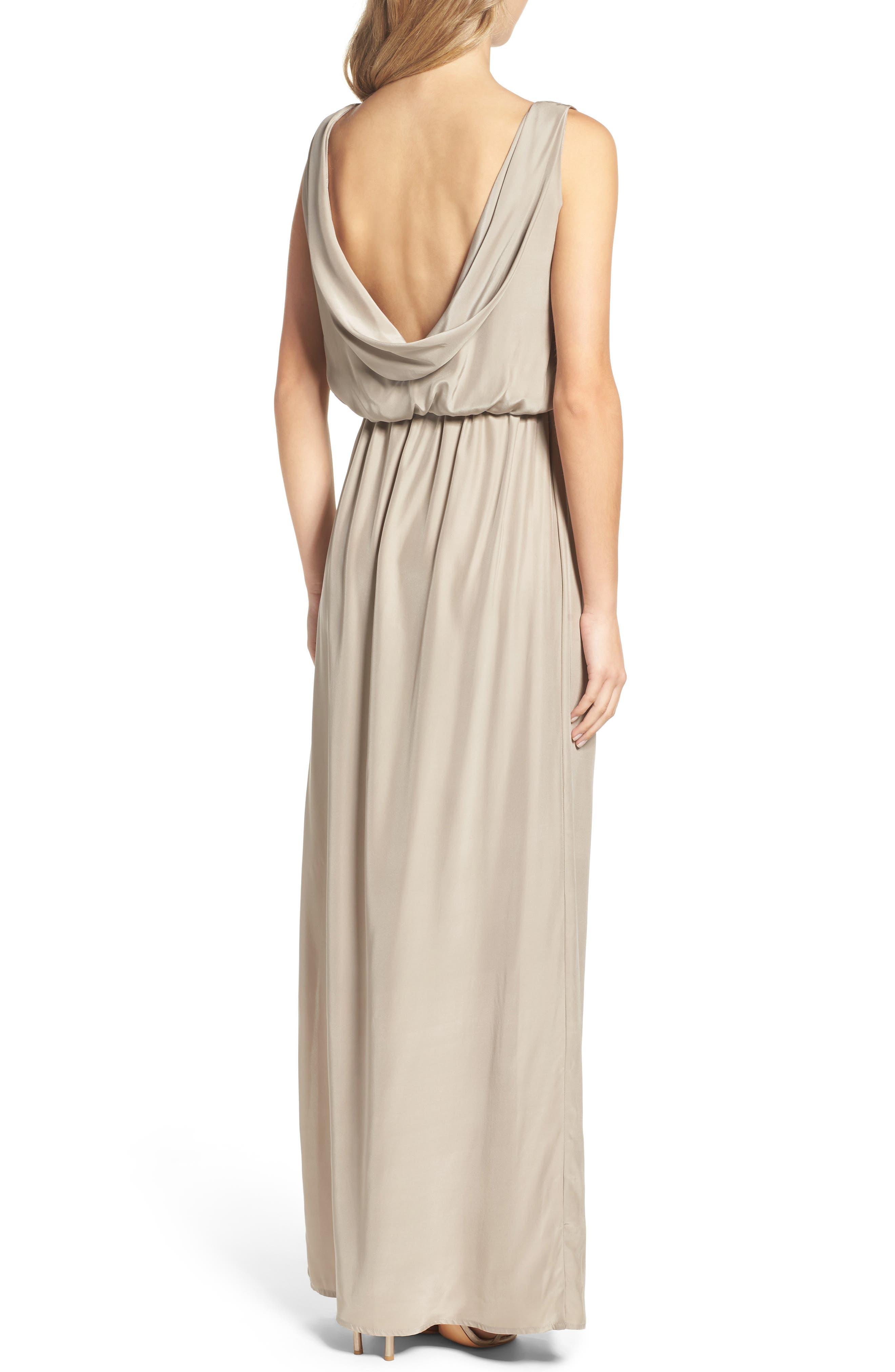 Drape Back Silk Column Gown,                             Alternate thumbnail 6, color,