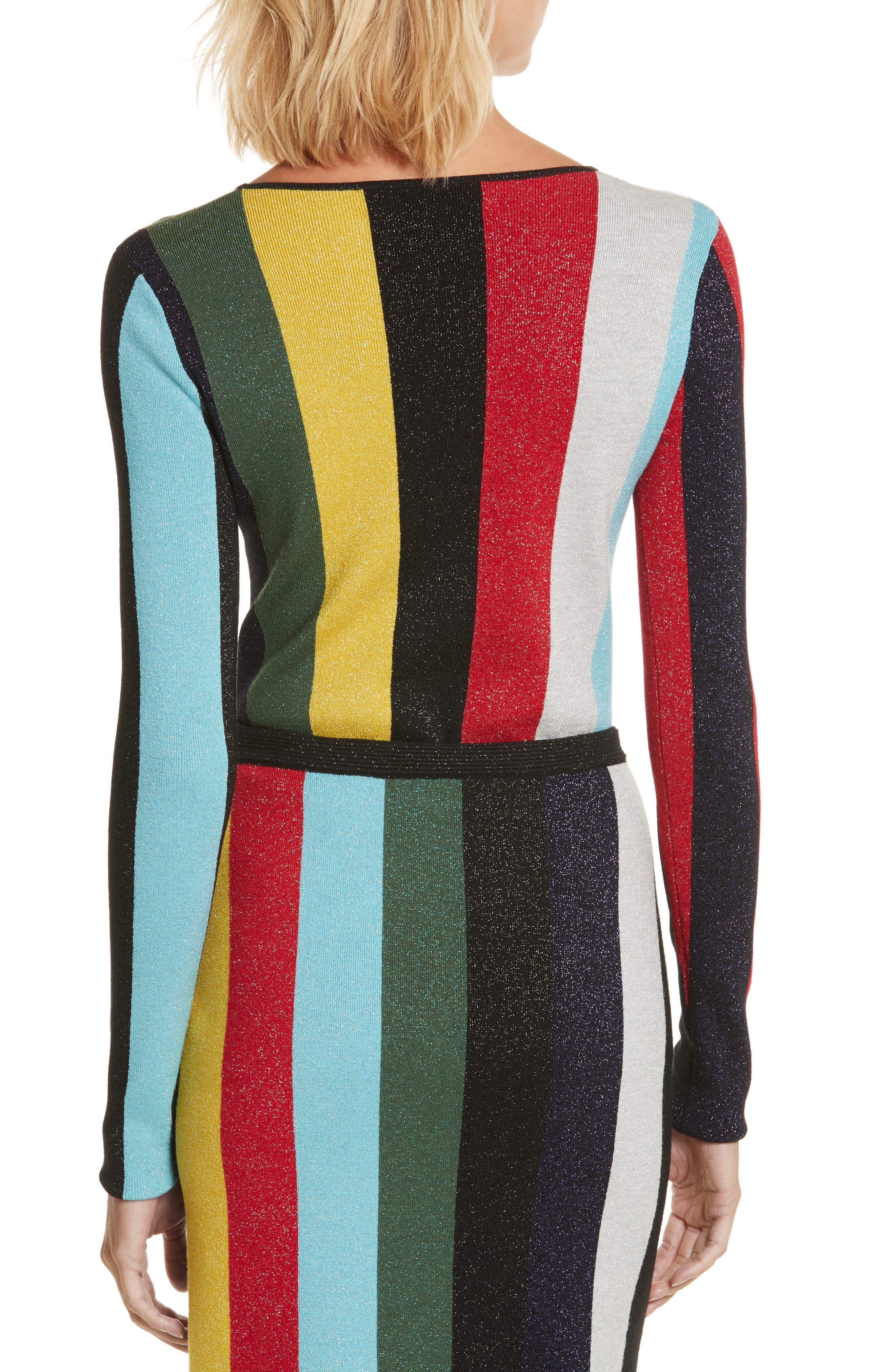 Diane von Furstenberg Metallic Stripe Sweater,                             Alternate thumbnail 2, color,                             008
