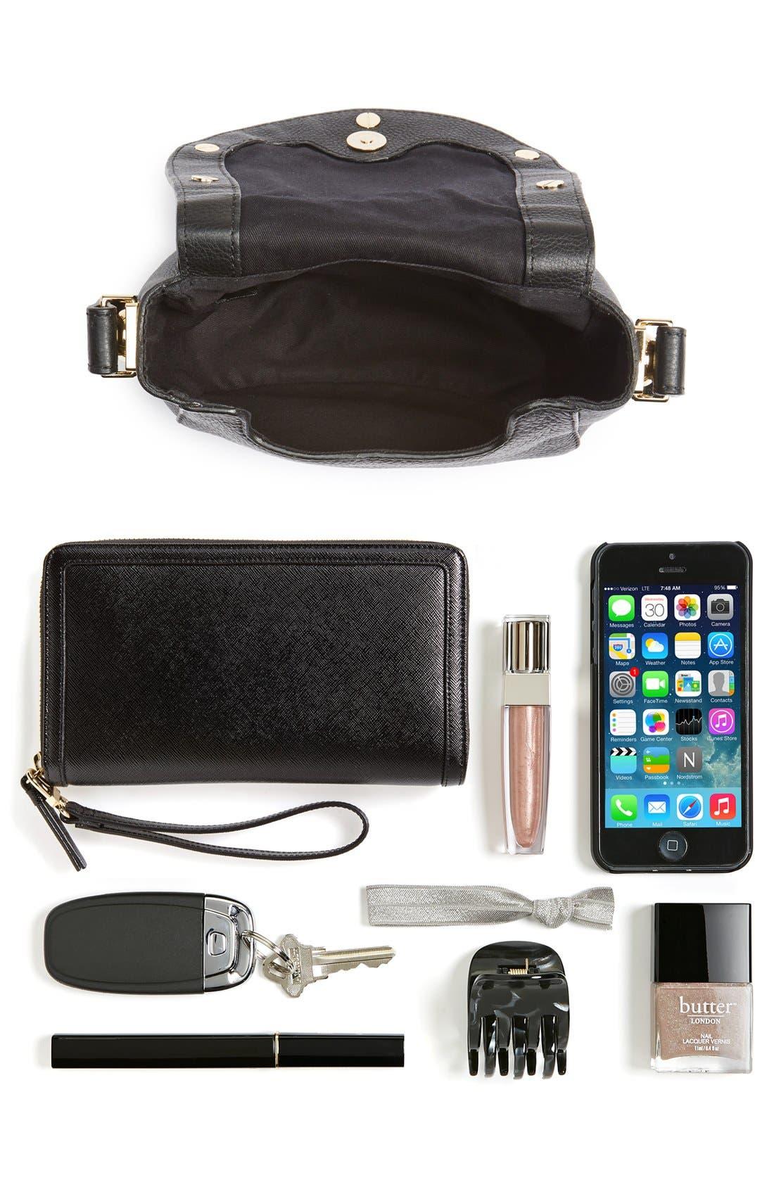 'Mini Sadie' Leather Crossbody Bag,                             Alternate thumbnail 5, color,                             001