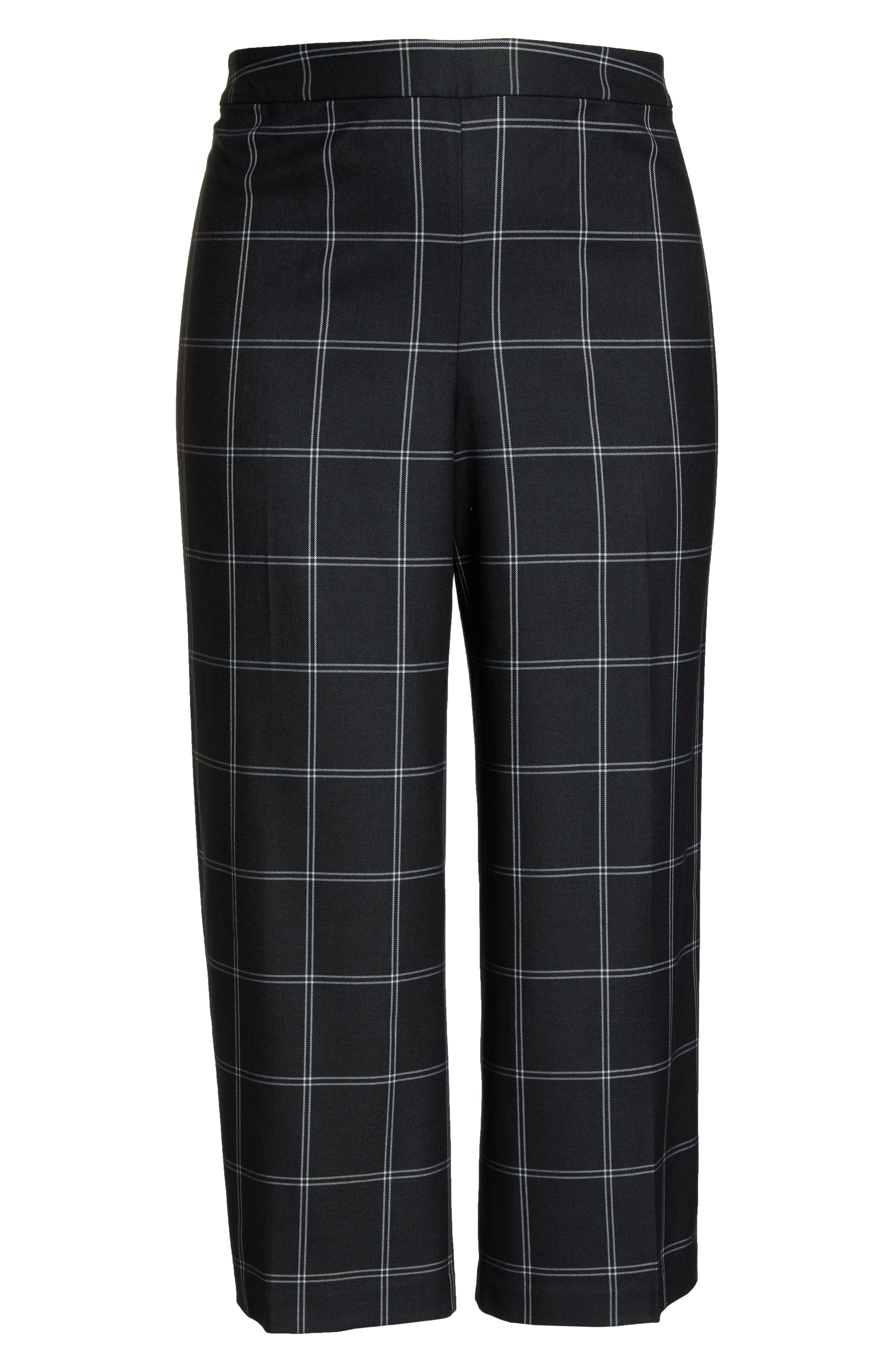 Windowpane Check Wide Leg Crop Pants,                             Alternate thumbnail 6, color,                             GREY TWILL PLAID
