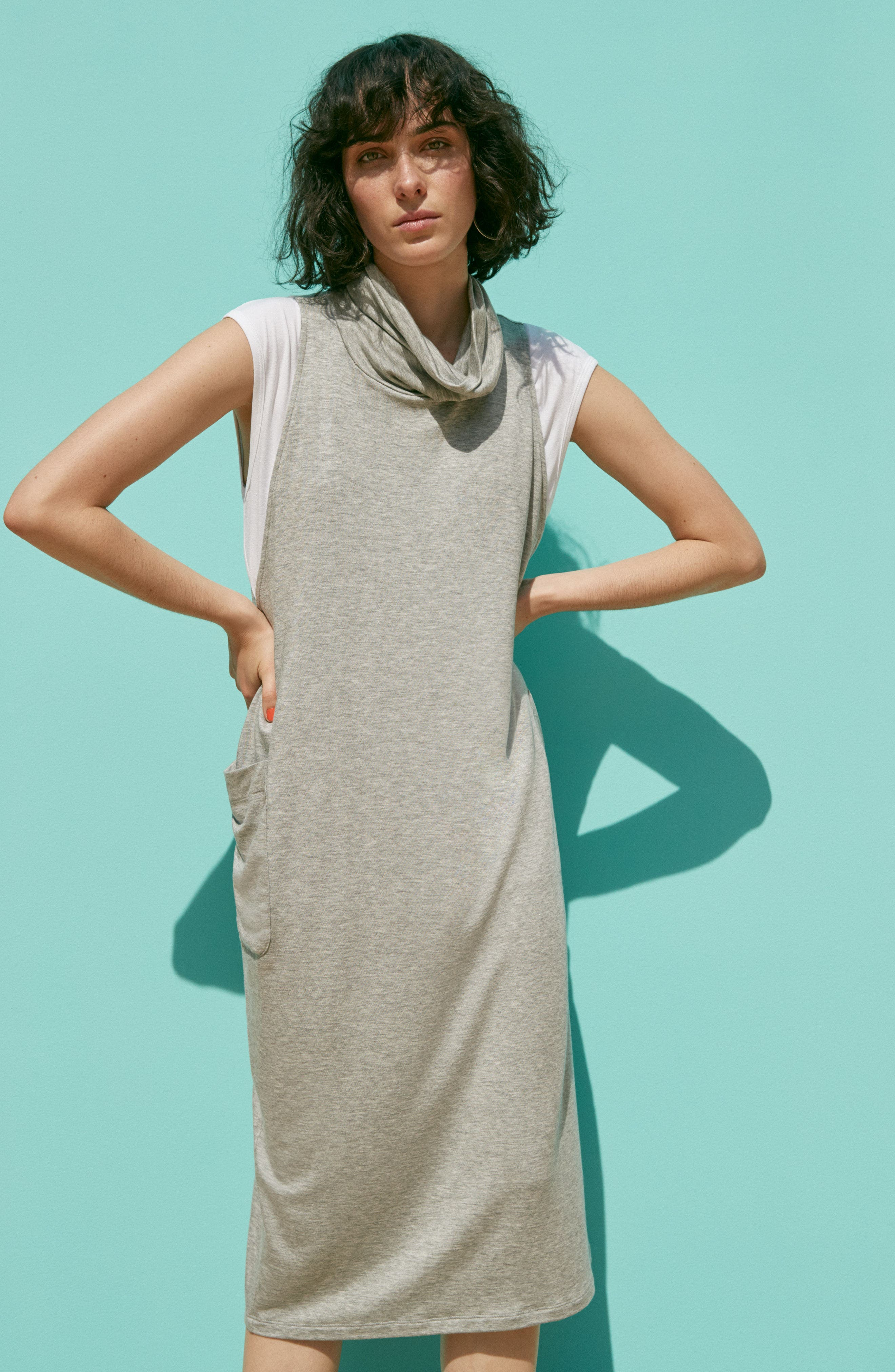 Stretch Tencel<sup>®</sup> Lyocell Knit Jumper Dress,                             Alternate thumbnail 7, color,                             001