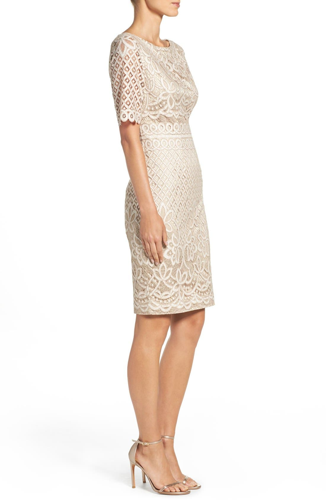 Lace Sheath Dress,                             Alternate thumbnail 6, color,                             IVORY NUDE