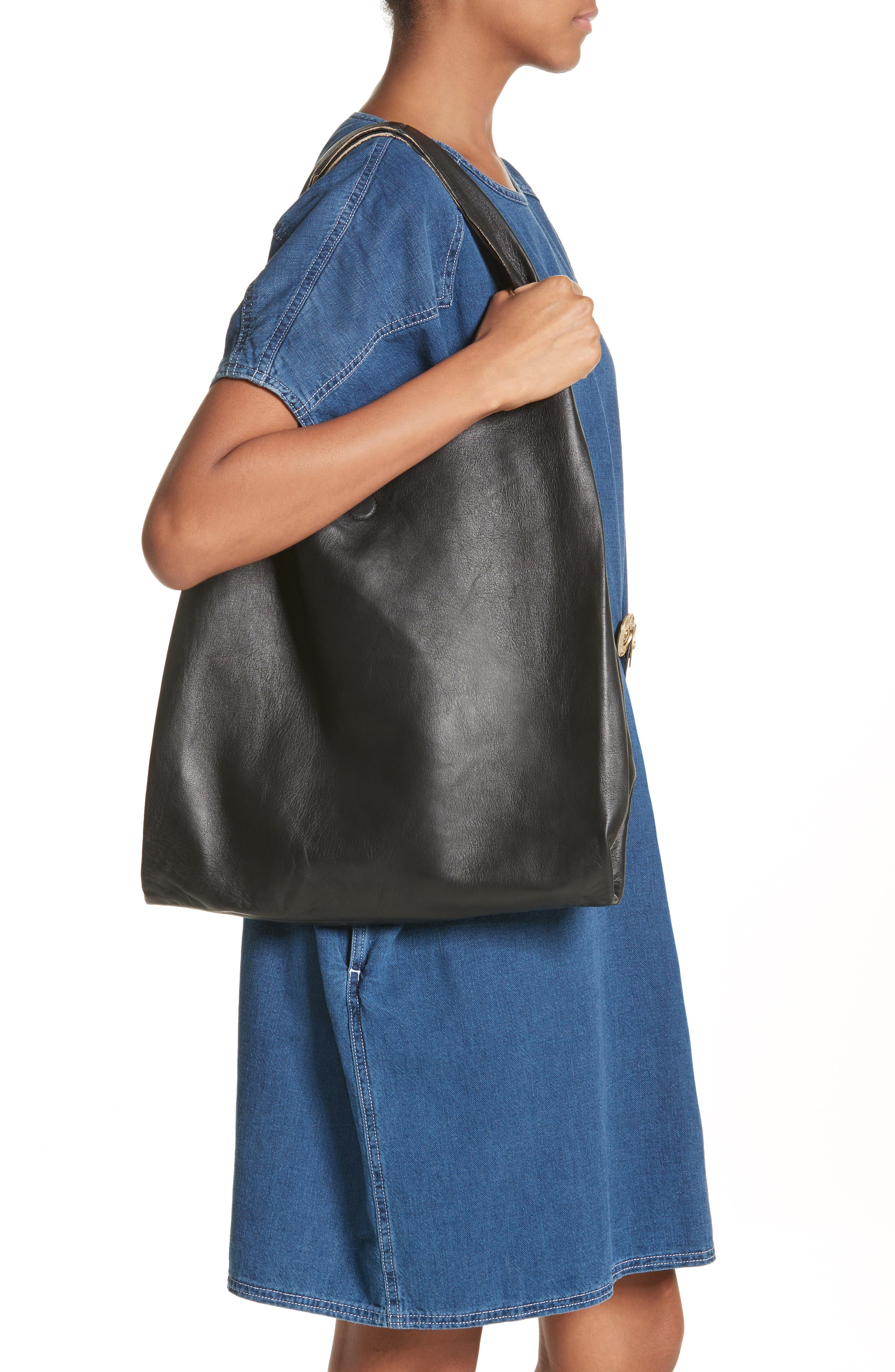 Calfskin Leather Shopper,                             Alternate thumbnail 2, color,                             001